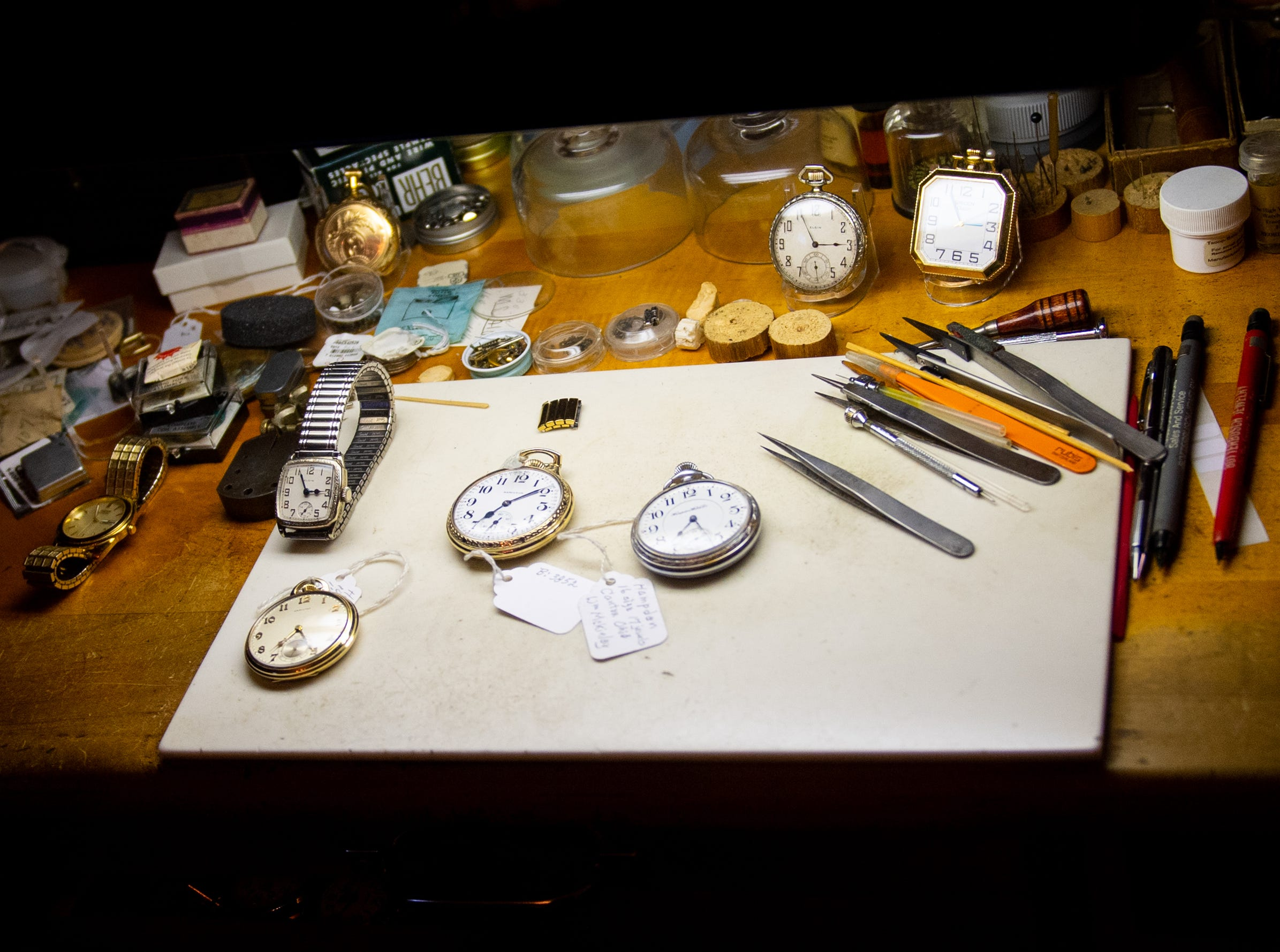 Ronald Botterbusch's work area is filled with watches and special tools that he can work on them with, January 30, 2019.