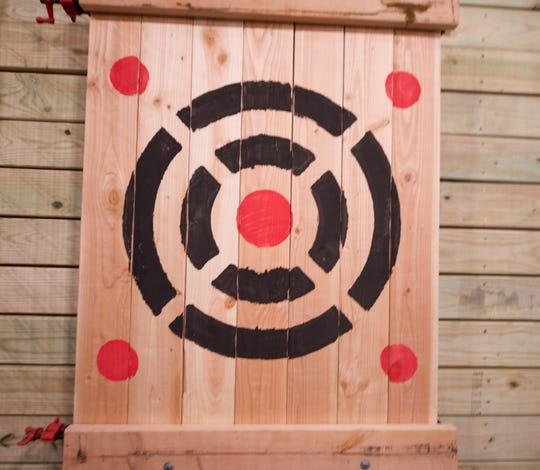 A target board at Stumpy's Hatchet House in Lancaster, Pa. Scoring is similar to darts, points are awarded based on the corresponding circle. The center bullseye is worth 5 points, the four corner circles are worth 7 points.  A Stumpy's Hatchet House is coming to a Delran shopping center in the spring.