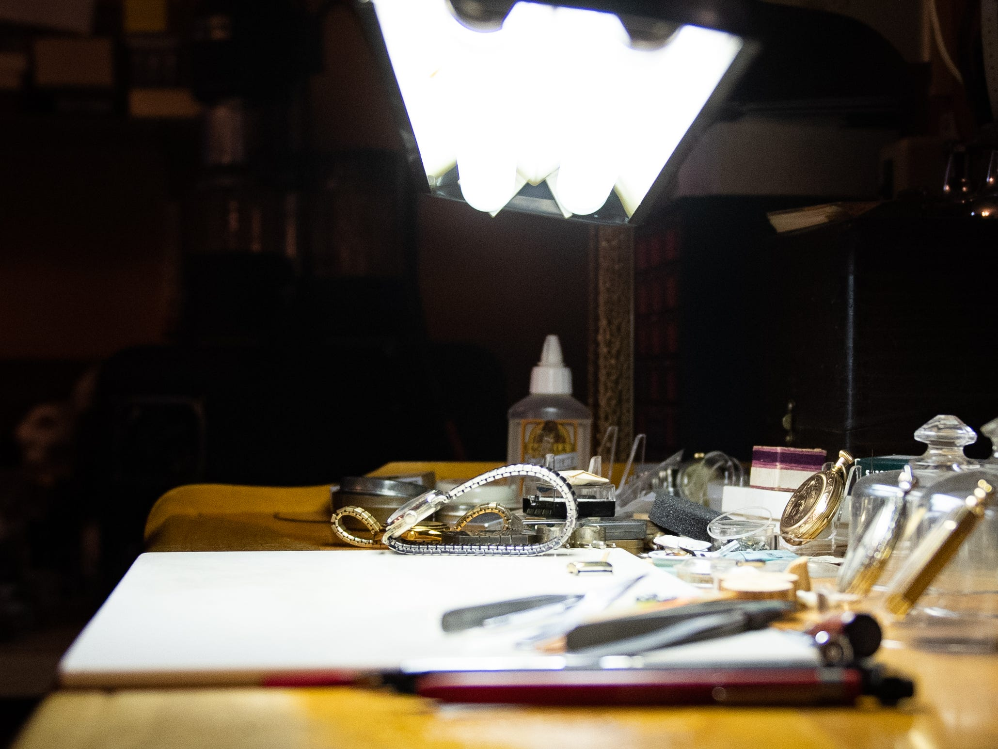 This is owner Ronald Botterbusch's work area where he fixes watches of all kinds, January 30, 2019.