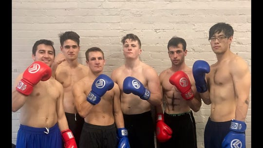 The Nevada boxing club team is in action Friday night at the Eldorado Hotel & Casino. Left to right: Dillon Maguin, Nate Strother, Davis Ault, David Rich, Jimmy \Verdi and Andy Shao.