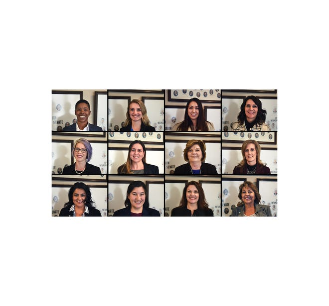From left to right: State Sen. Dallas Harris, D-Las Vegas, State Sen. Melanie Scheible, D-Las Vegas, Assemblywoman Selena Torres, D-Las Vegas, Assemblywoman Alexis Hansen, R-Sparks, Assemblywoman Sarah Peters, D-Reno, Assemblywoman Shea Backus, D-Las Vegas, Assemblywoman Connie Munk, D-Las Vegas, Assemblywoman Melissa Hardy, R-Henderson, Assemblywoman Susan Martinez, D-Las Vegas, Assemblywoman Rochelle Nguyen, D-Las Vegas, Assemblywoman Michelle Gorelow, D-Las Vegas and Assemblywoman Bea Duran, D-Las Vegas.