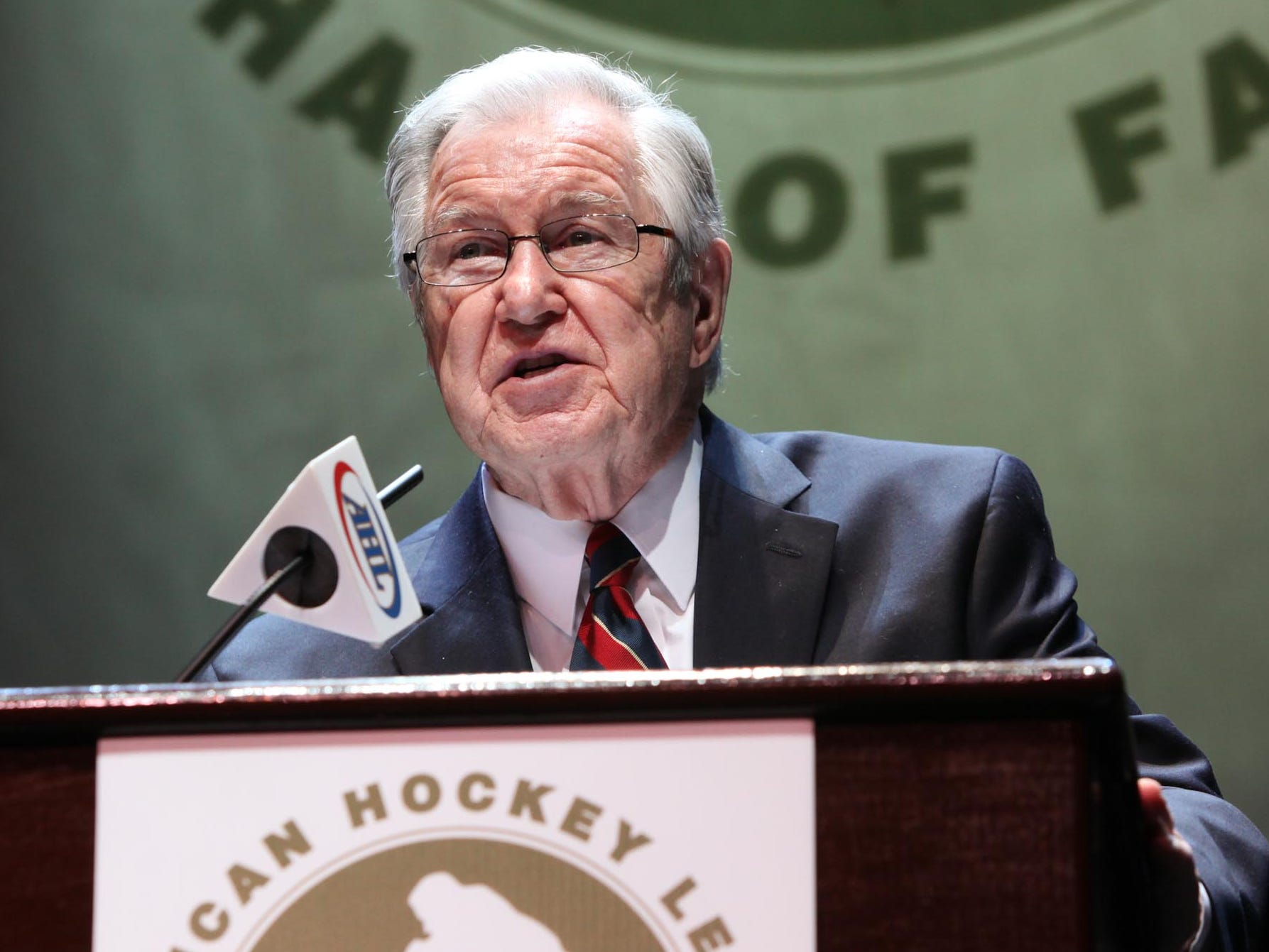 Joe Crozier delivers his induction speech at the 2012 American Hockey League Hall of Fame ceremonies in Atlantic City, N.J.
