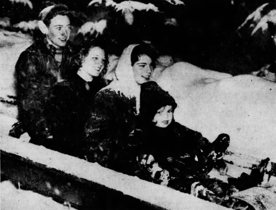 Riding the toboggan run in 1944.