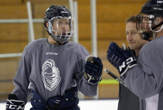 Webster's Conlan Keenan works out with his team Wednesday afternoon. Keenan is the second-leading scorer in the country for the top-ranked SUNY-Geneseo Hockey team.