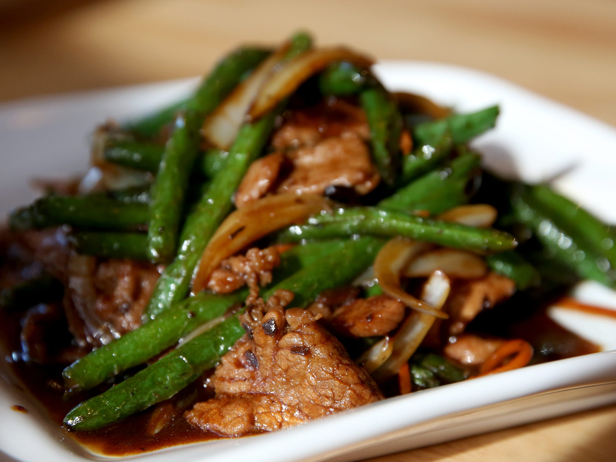 Cantonese black bean green beans with beef at Chen's Family Dish in Salem on Thursday, Jan. 31, 2019.
