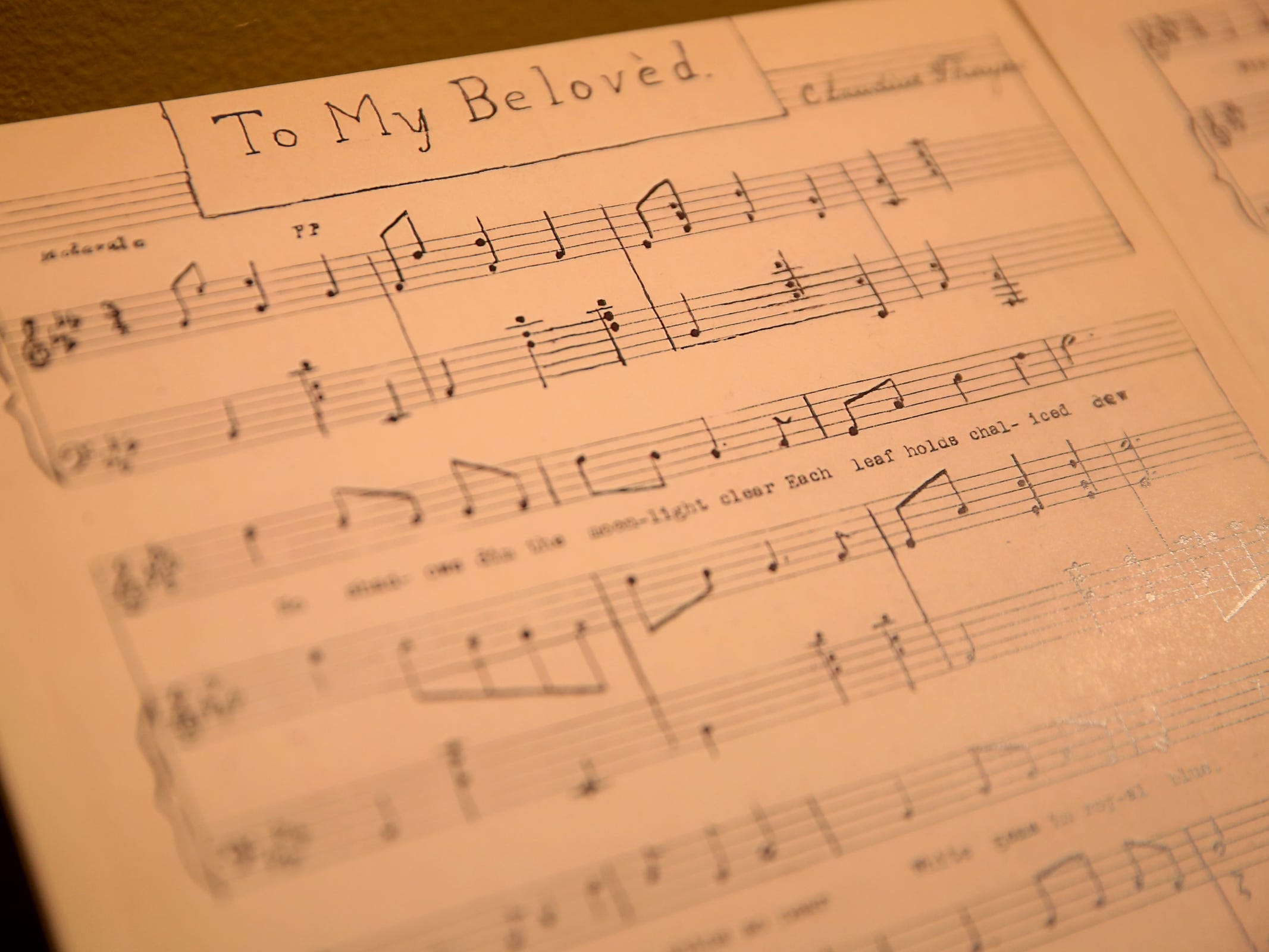 Sheet music written by members of the Bush Family from the Bush House Museum, part of the Romance: Stories of Love and Passion in the Mid-Willamette Valley exhibit running through April 20 at the Willamette Heritage Center in Salem on Thursday, Jan. 31, 2019.