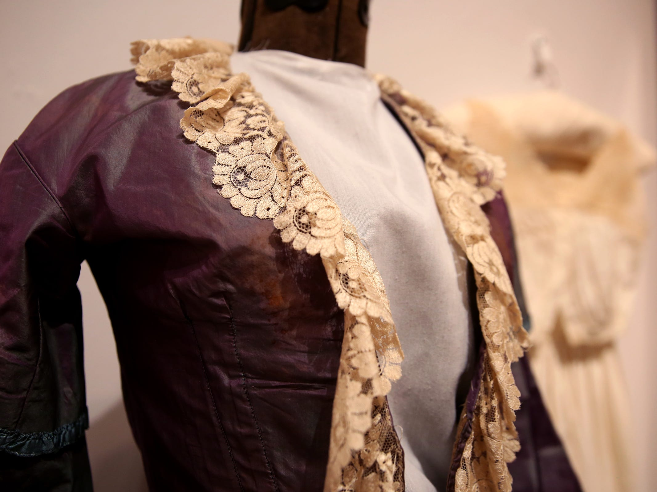 A historical wedding dress from the Keizer Heritage Center, part of the Romance: Stories of Love and Passion in the Mid-Willamette Valley exhibit running through April 20 at the Willamette Heritage Center in Salem on Thursday, Jan. 31, 2019.