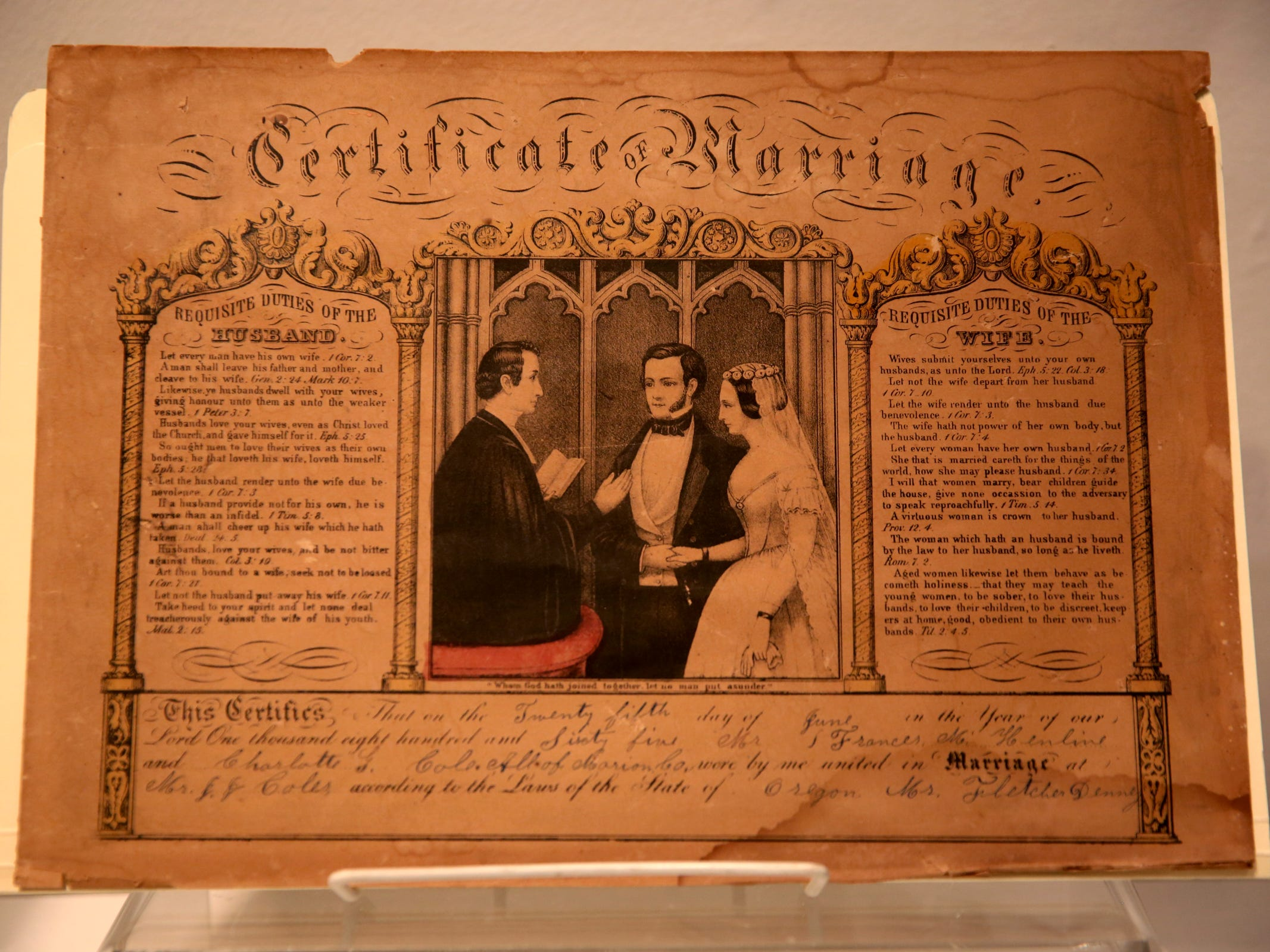 A marriage certificate from 1865, part of the Romance: Stories of Love and Passion in the Mid-Willamette Valley exhibit running through April 20 at the Willamette Heritage Center in Salem on Thursday, Jan. 31, 2019.