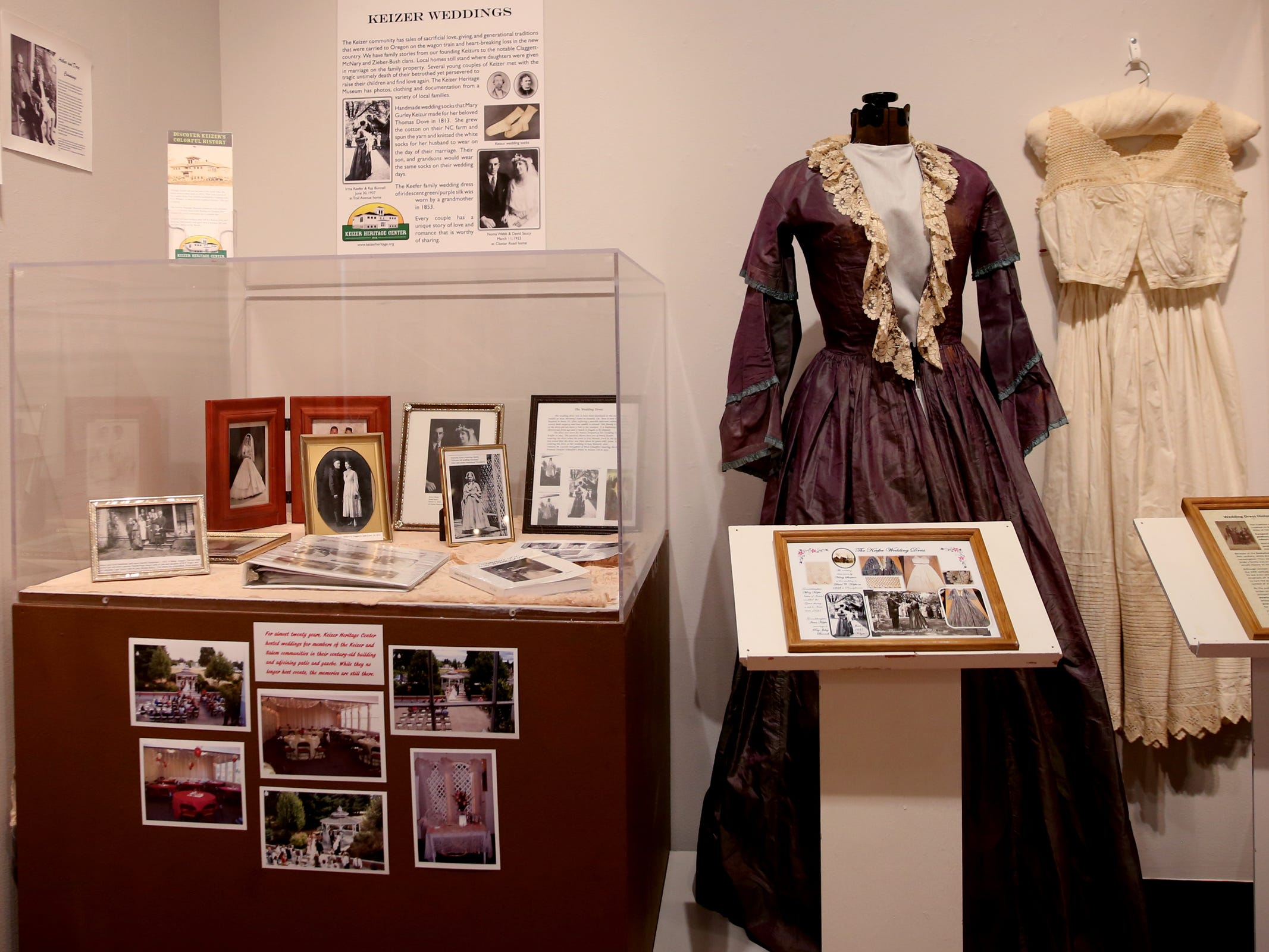 Historical wedding clothing and photos from the Keizer Heritage Center, part of the Romance: Stories of Love and Passion in the Mid-Willamette Valley exhibit running through April 20 at the Willamette Heritage Center in Salem on Thursday, Jan. 31, 2019.