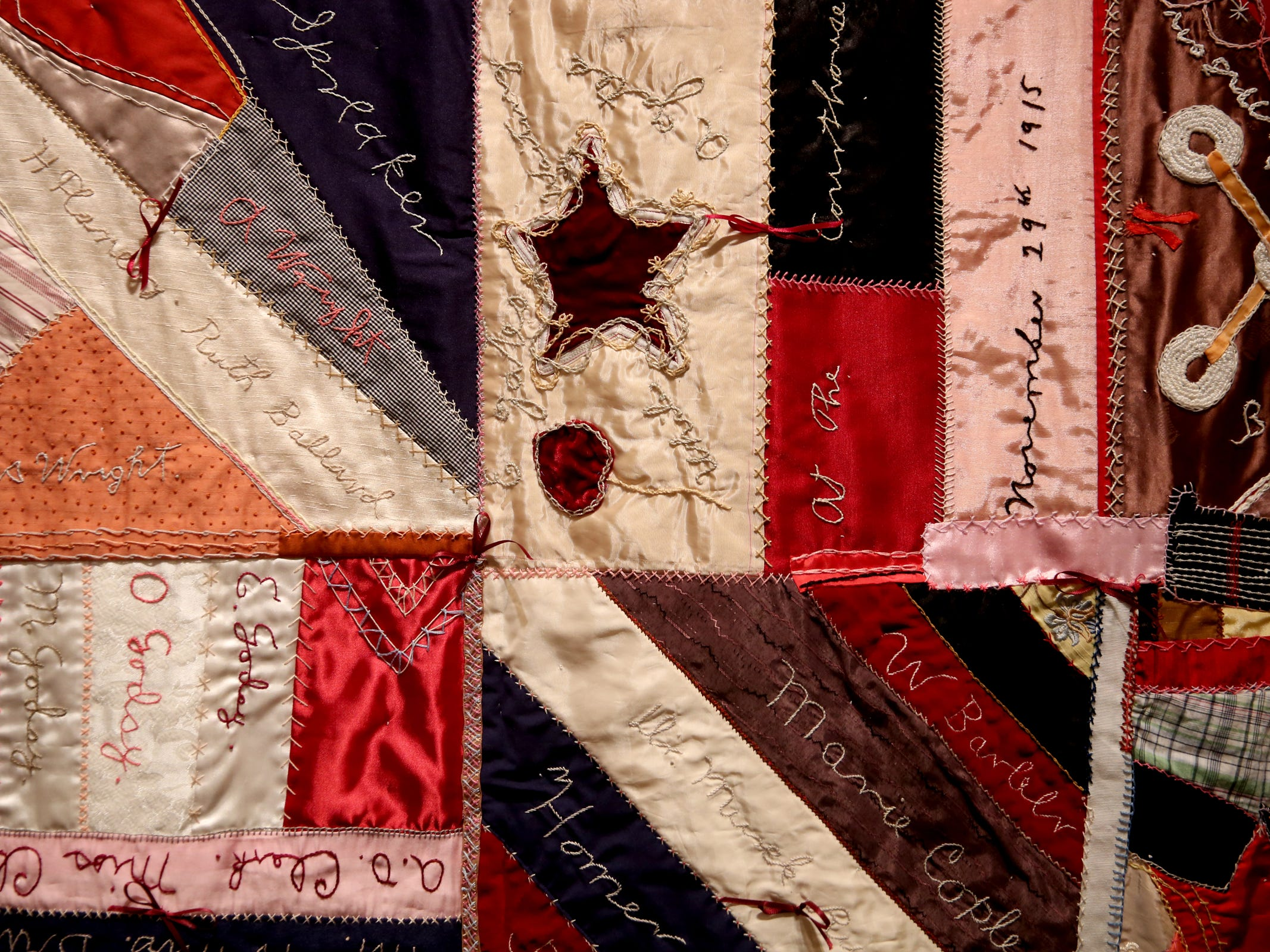 "A replica of the 1915 Willamina ""Murder Quilt"" from the Yamhill County Historical Society & Museums, part of the Romance: Stories of Love and Passion in the Mid-Willamette Valley exhibit running through April 20 at the Willamette Heritage Center in Salem on Thursday, Jan. 31, 2019."
