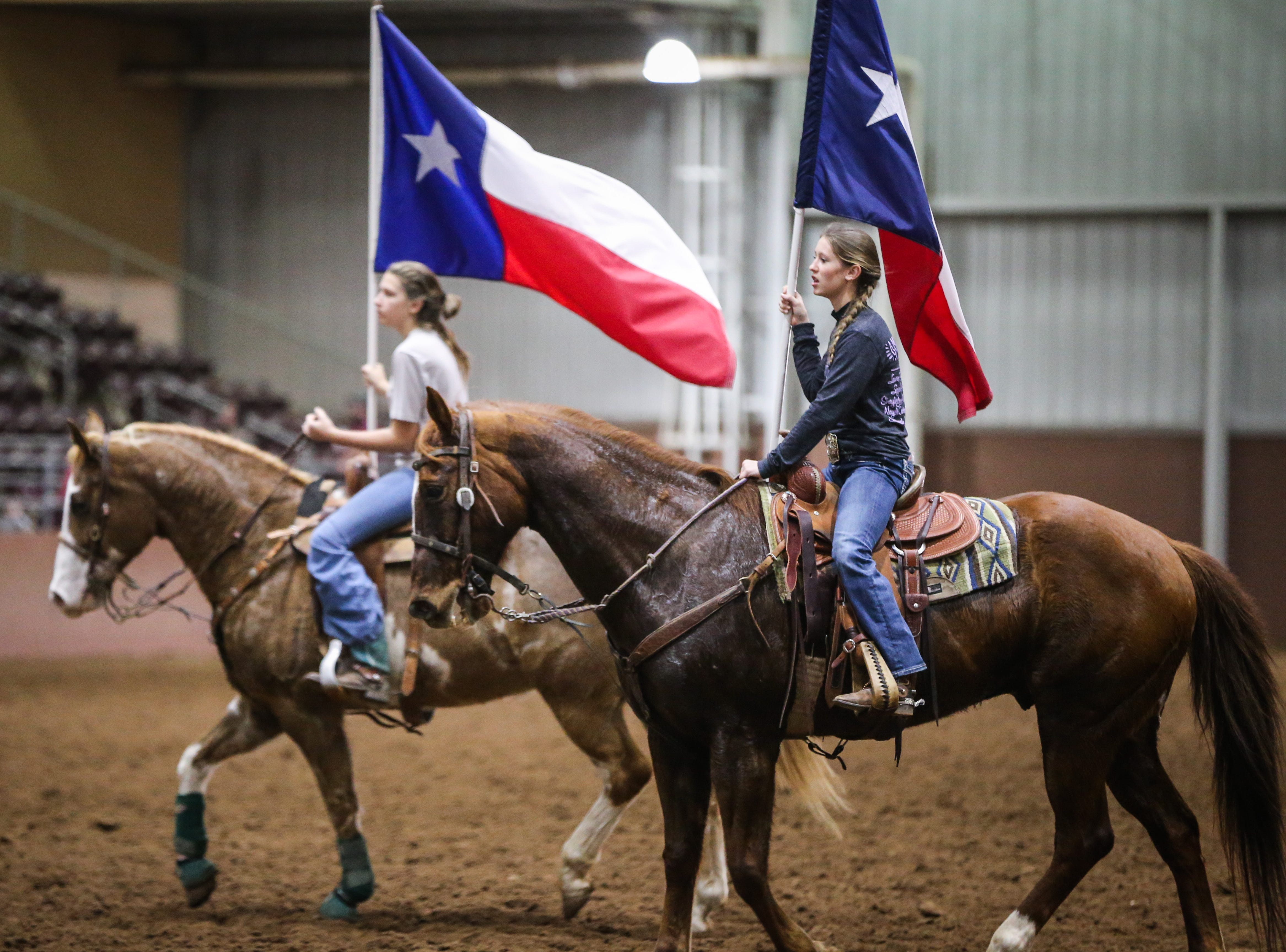 San Angelo Ambassadors warm up for practice Saturday, Jan. 26, 2019, in the Spur Arena. The team performs during the San Angelo Stock Show and Rodeo.