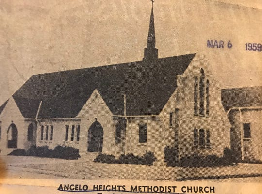 Angelo Heights Methodist stood at 1506 Shiloh St. before the property was sold to the City of San Angelo to make room for the Houston Harte Expressway in 1971. The building is still standing 4 blocks west of its original location as New Mount of Olives Church at 1108 Shiloh St.