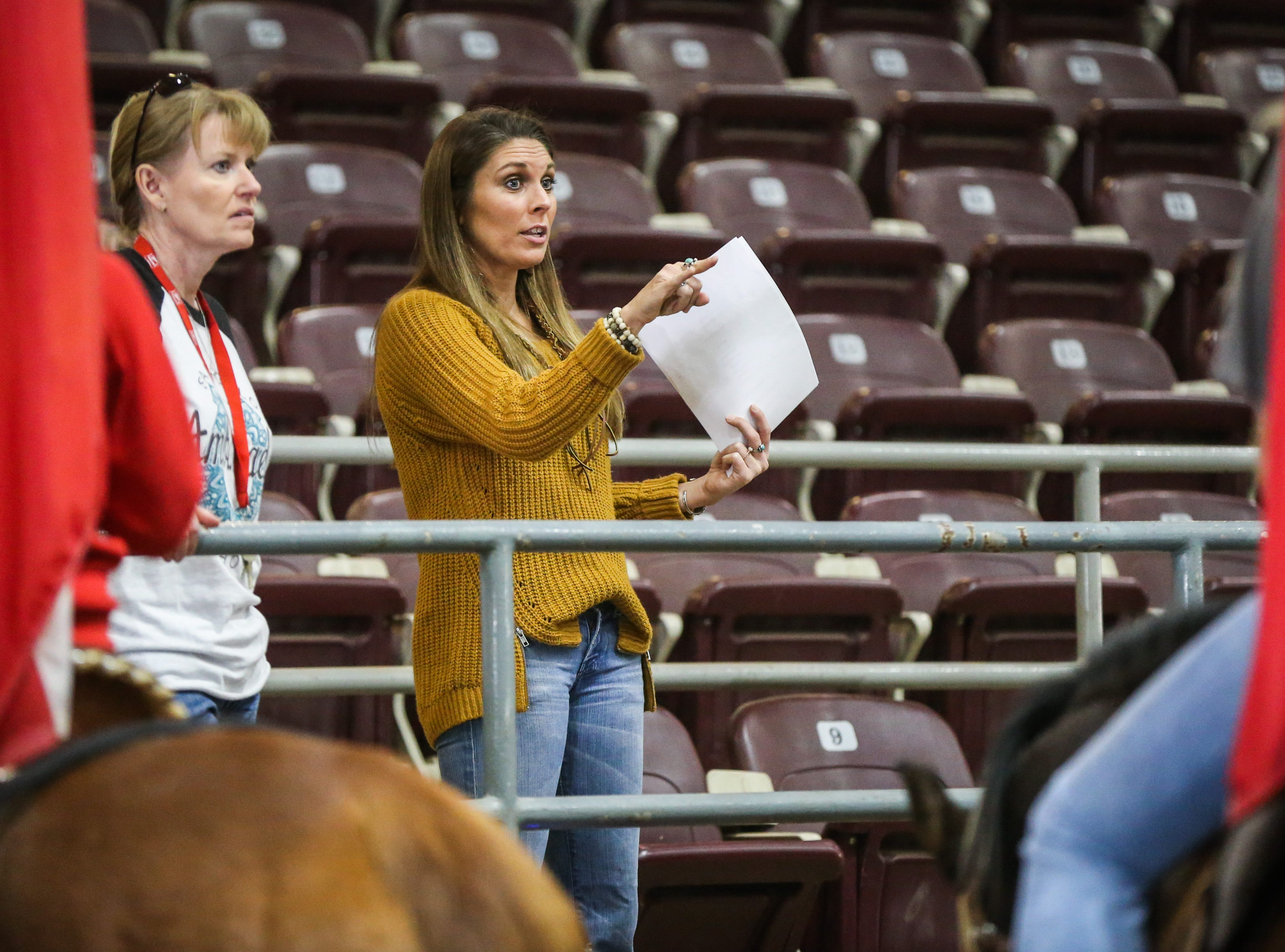 Director Sally Green, left, and Coach Misty Preston chat with the San Angelo Ambassadors about the drill Saturday, Jan. 26, 2019, in the Spur Arena. The team is practicing for the San Angelo Stock Show and Rodeo.
