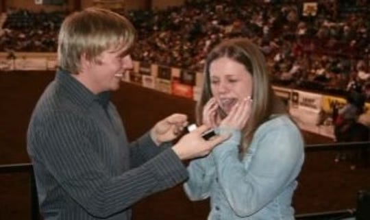 Dillion Ballard proposes to Rachel in the 2009 San Angelo Stock Show and Rodeo. This year, they'll celebrate their 10th anniversary.