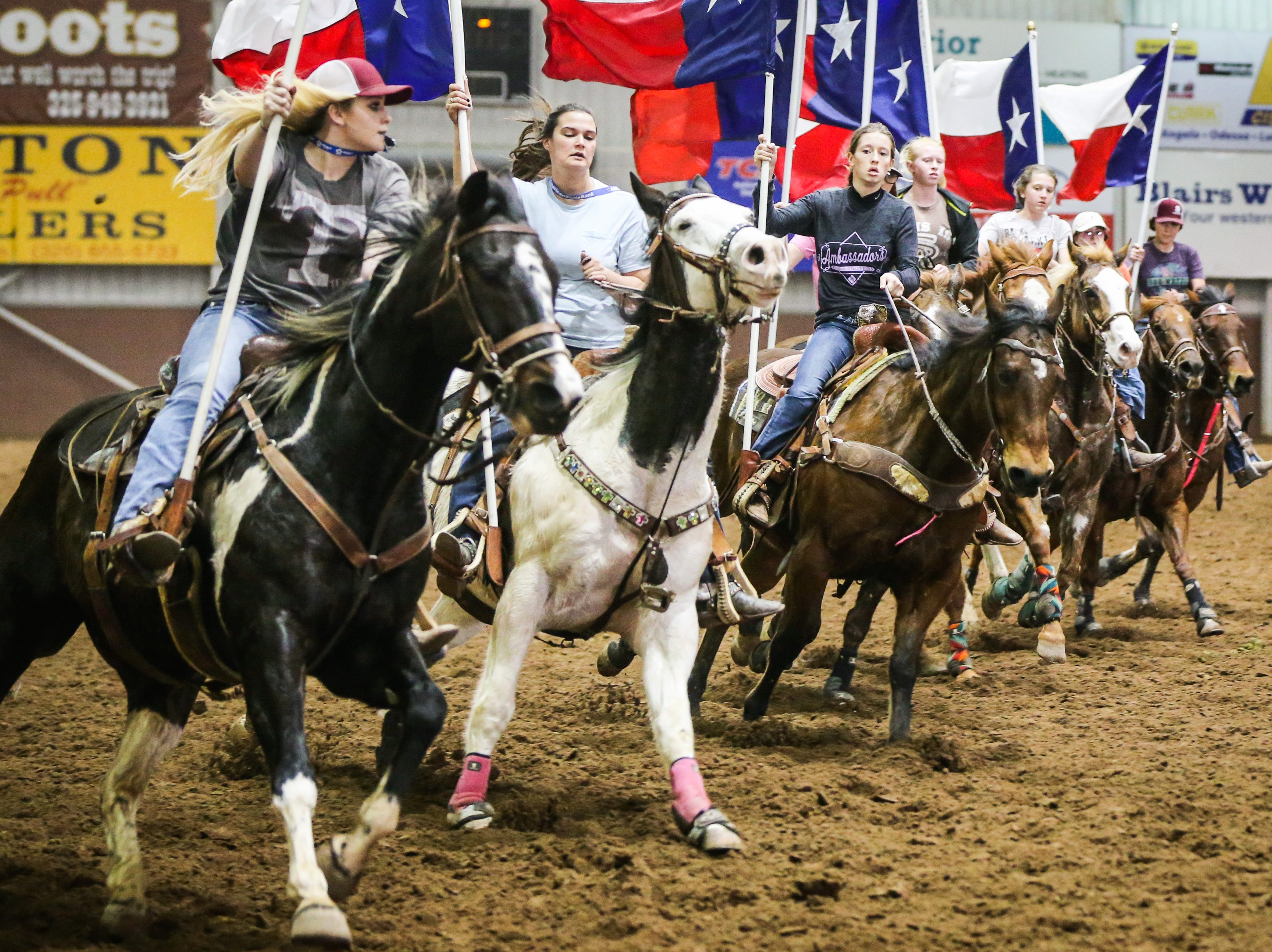 San Angelo Ambassadors practice Saturday, Jan. 26, 2019, in the Spur Arena. The team performs during the San Angelo Stock Show and Rodeo.
