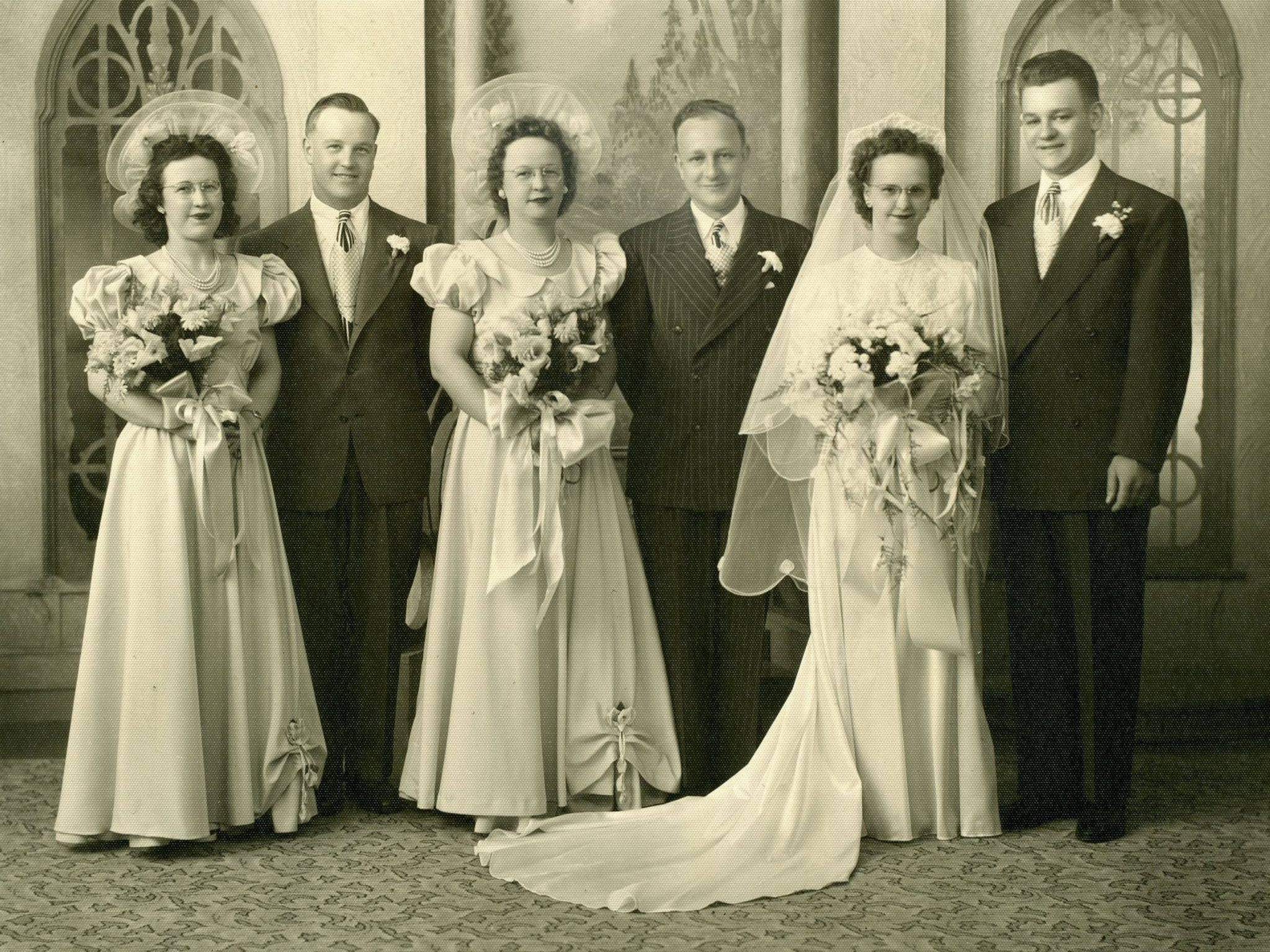 "Carol (Edler) Petermann and George Petermann on thier wedding day, June 5, 1948 in Michigan. Carol passed on July, 13, 1972 and George on Nov. 14, 1995. Their daughter, Barbara Louisignau (who is also featured in the gallery), said ""My father never remarried saying he had his one true love and would never forget her and she would always be his wife."""