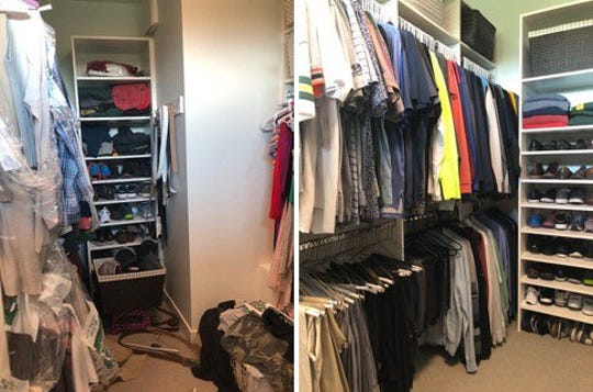 A closet is shown before (left) and after a tidying up session.