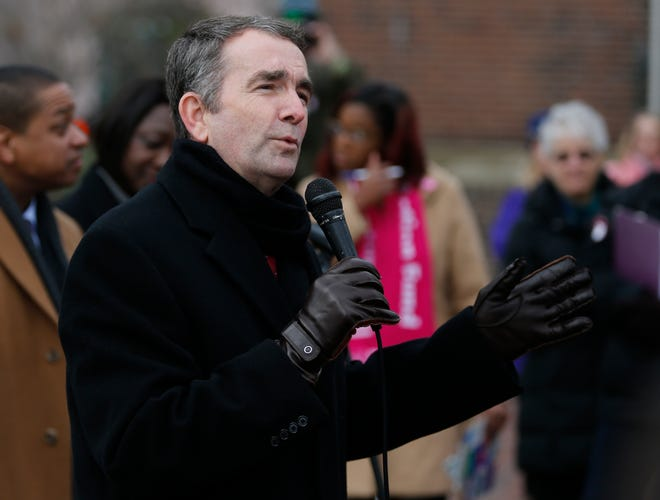 In this Jan. 14, 2019, file photo, Virginia Gov. Ralph Northam speaks to a crowd during a Women's Rights rally at the Capitol in Richmond, Va.