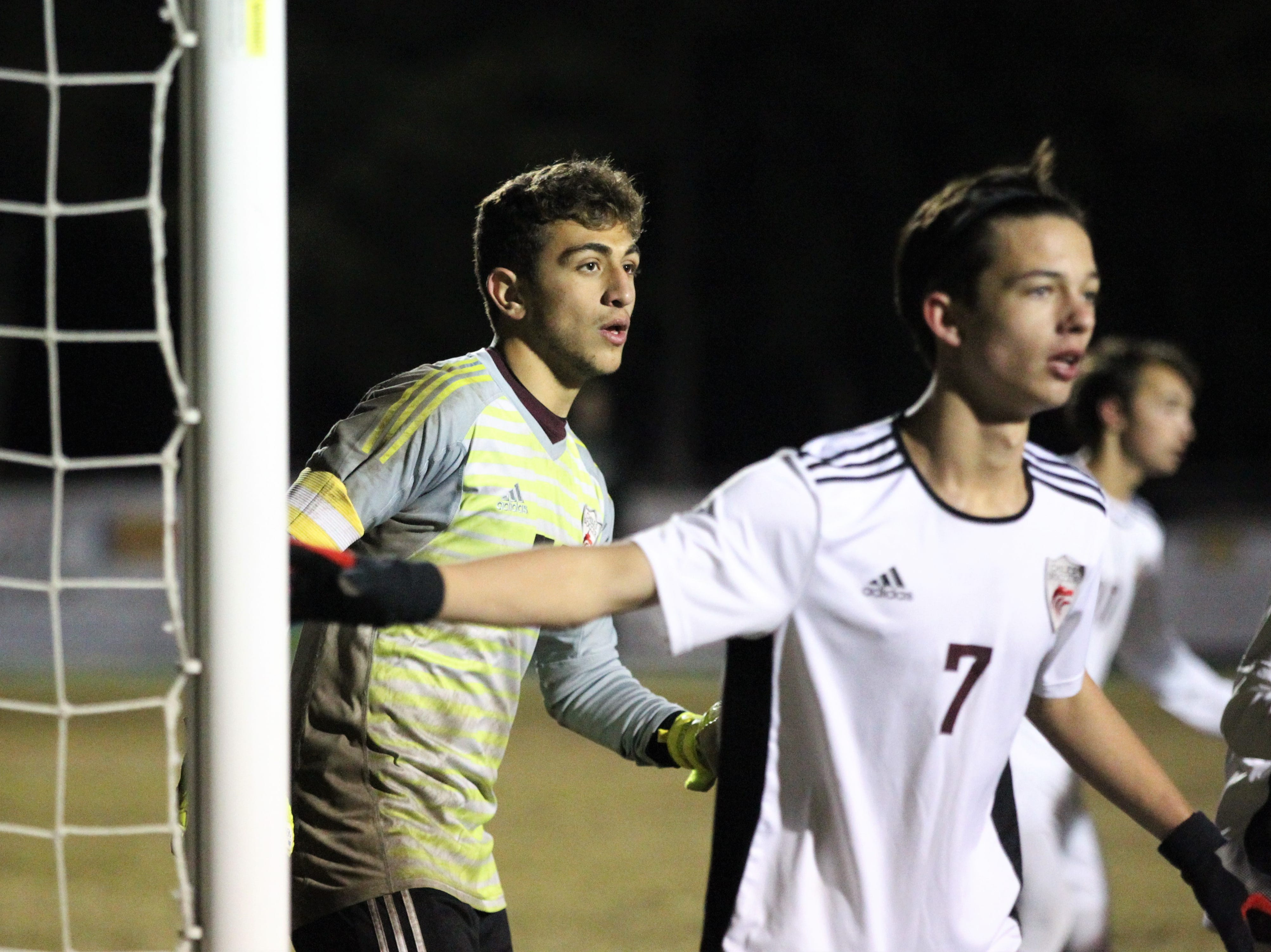 Chiles keeper Abraheim Darwish looks for an incoming corner kick as Chiles' boys soccer team beat Lincoln 1-0 in a District 2-4A semifinal on Jan. 30, 2019.