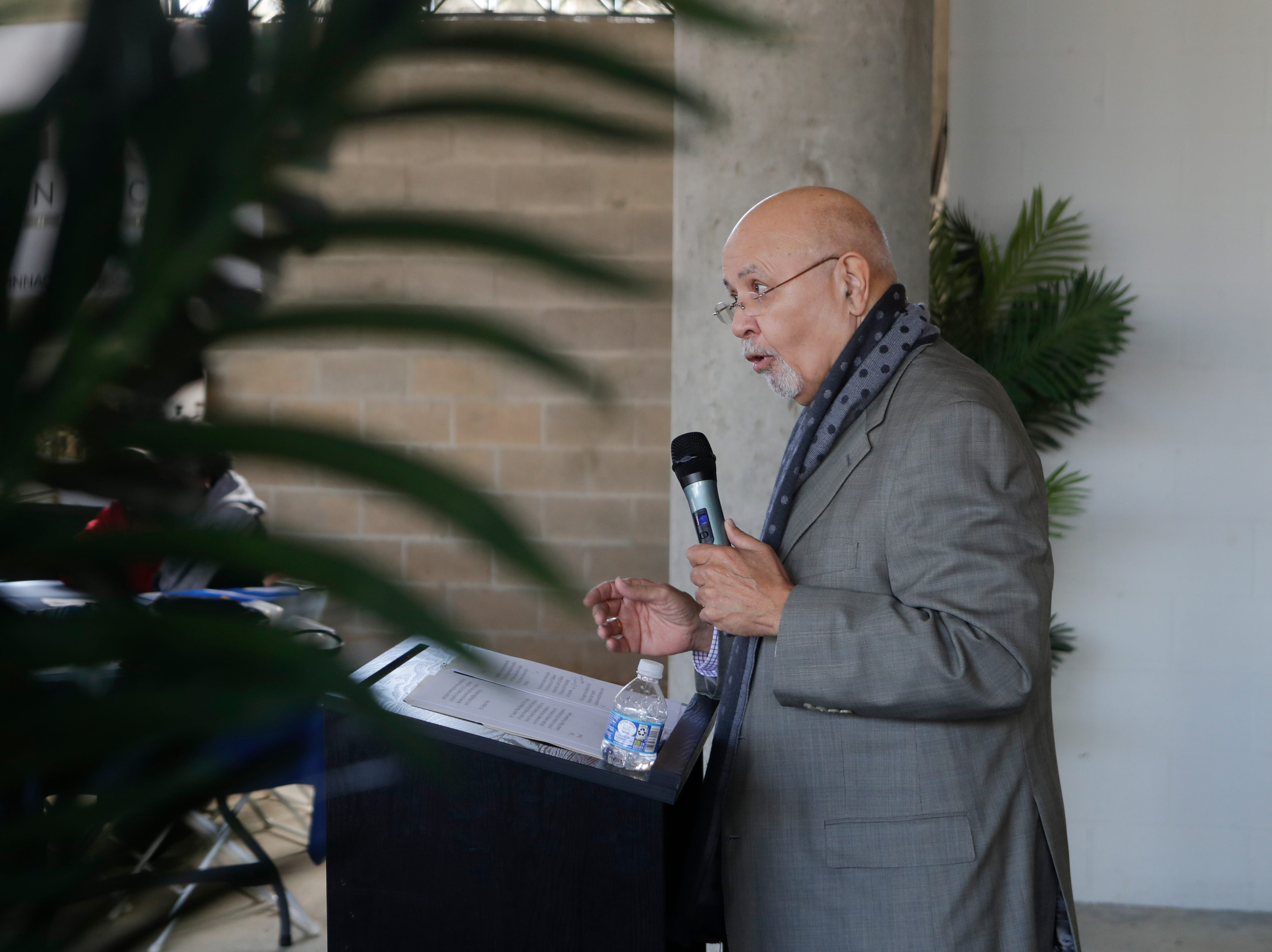 Chief Financial Officer for the Big Bend Community Development Corporation Thomas Lewis speaks during the grand opening celebration for the Casañas Village Apartments at Frenchtown Square Thursday, Jan. 31, 2019.