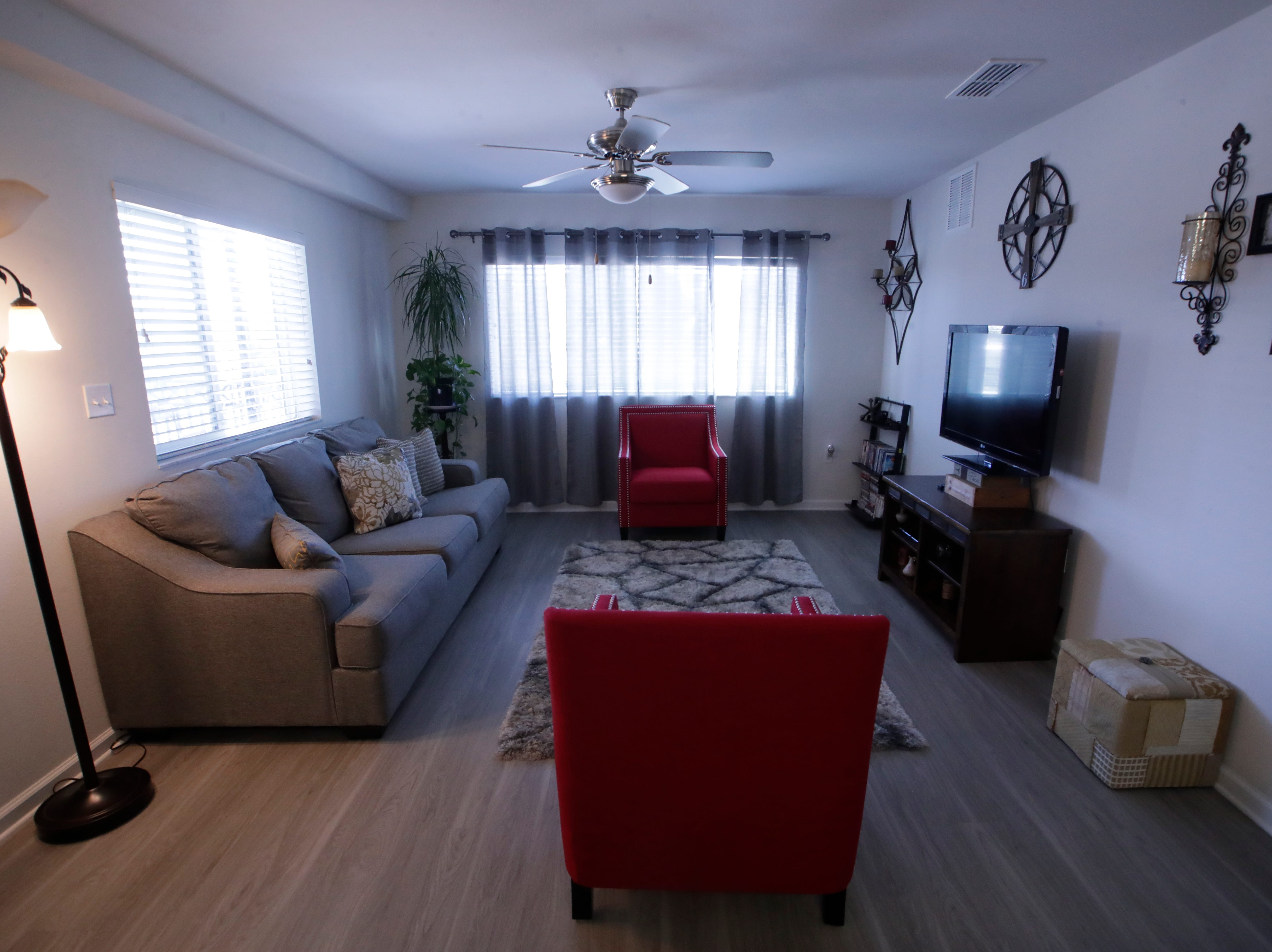 One of the floor plans at Casañas Village Apartments at Frenchtown Square includes three bedrooms and two bathrooms. All apartments include hard floors and similar finishings. One and two bedroom floor plans are also available.