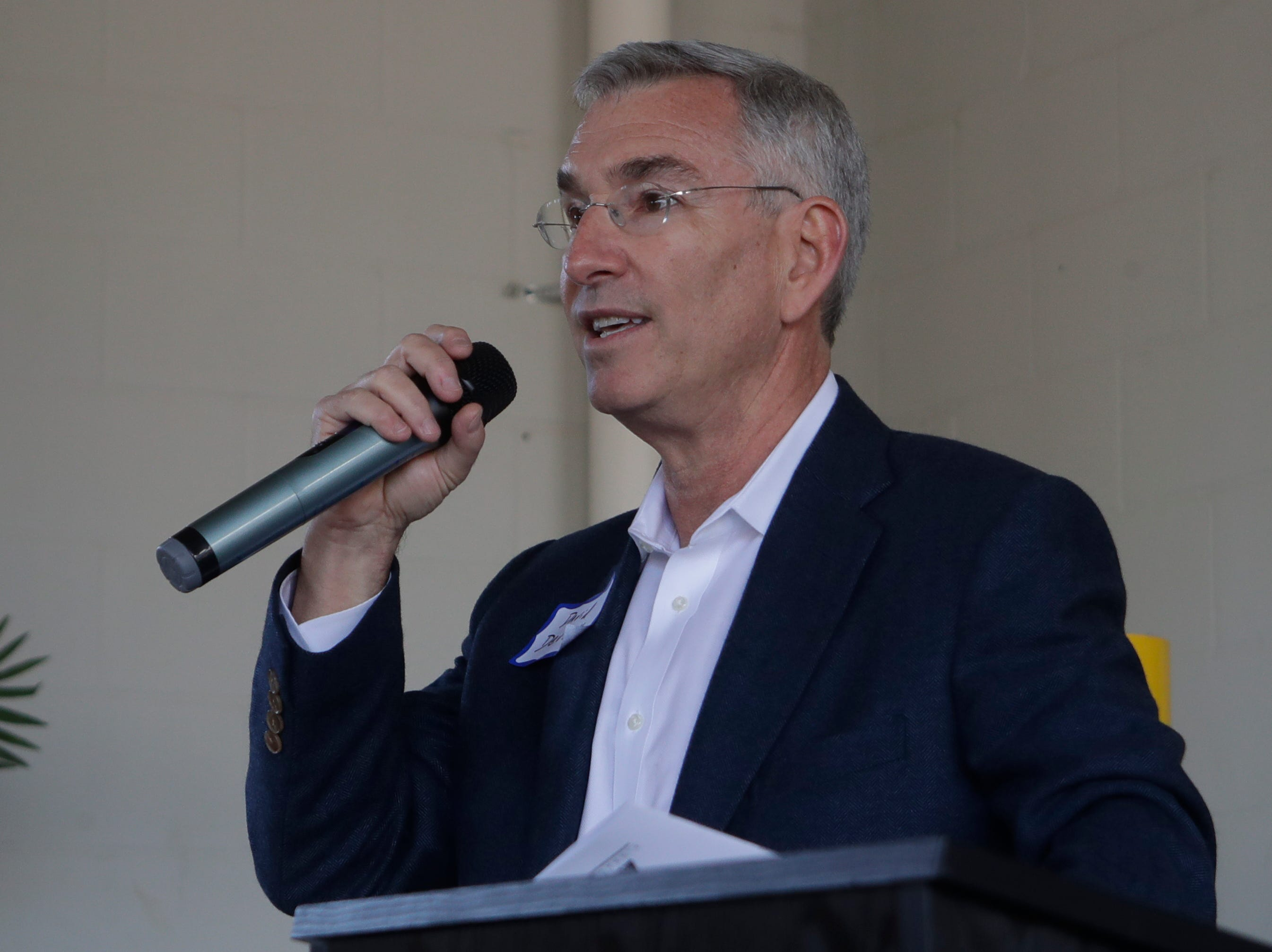 David Deutch, partner at Pinnacle Housing Group speaks during the grand opening celebration for the Casañas Village Apartments at Frenchtown Square Thursday, Jan. 31, 2019.