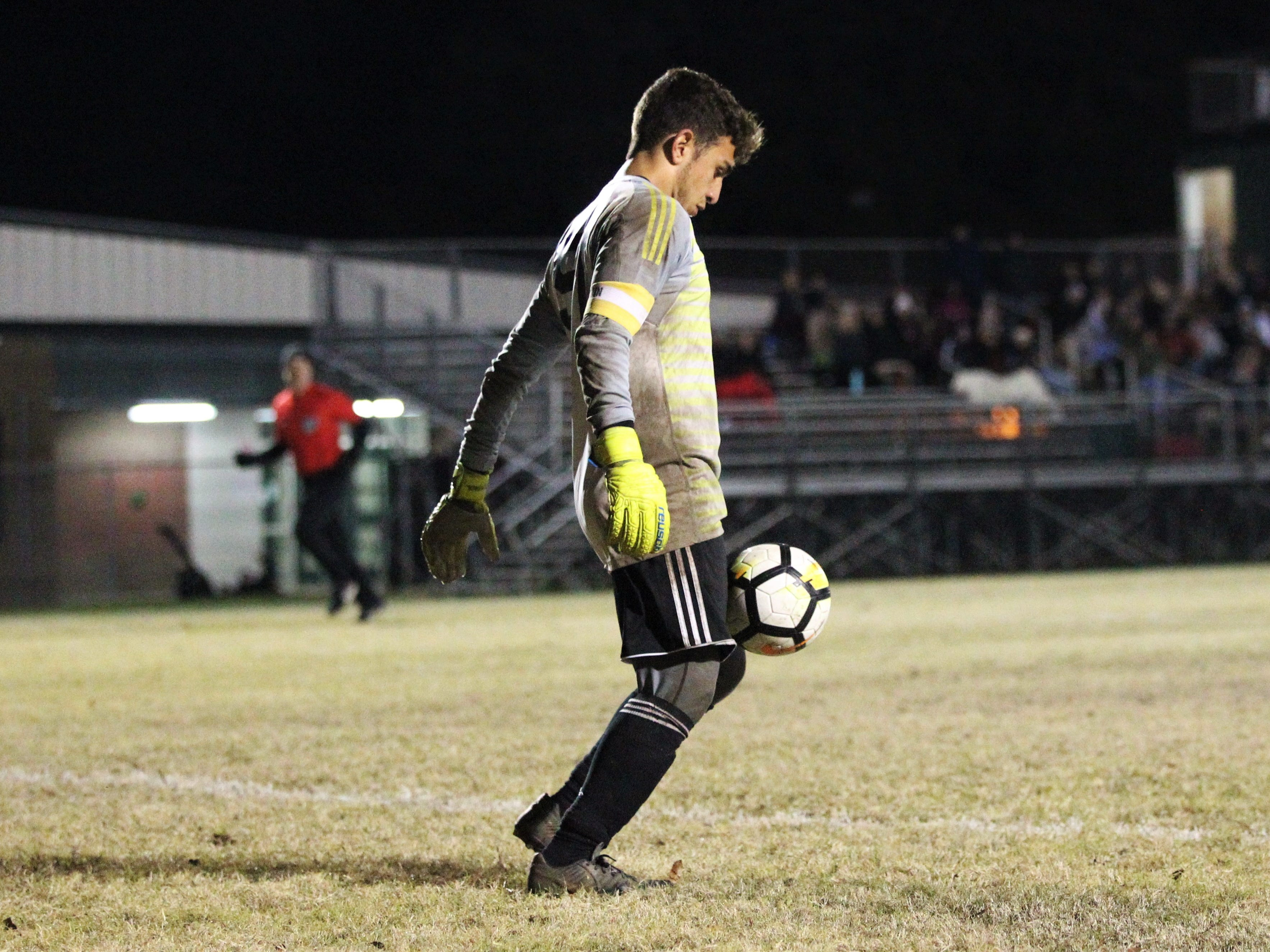 Chiles keeper Abraheim Darwish brings in a bouncing ball as Chiles' boys soccer team beat Lincoln 1-0 in a District 2-4A semifinal on Jan. 30, 2019.