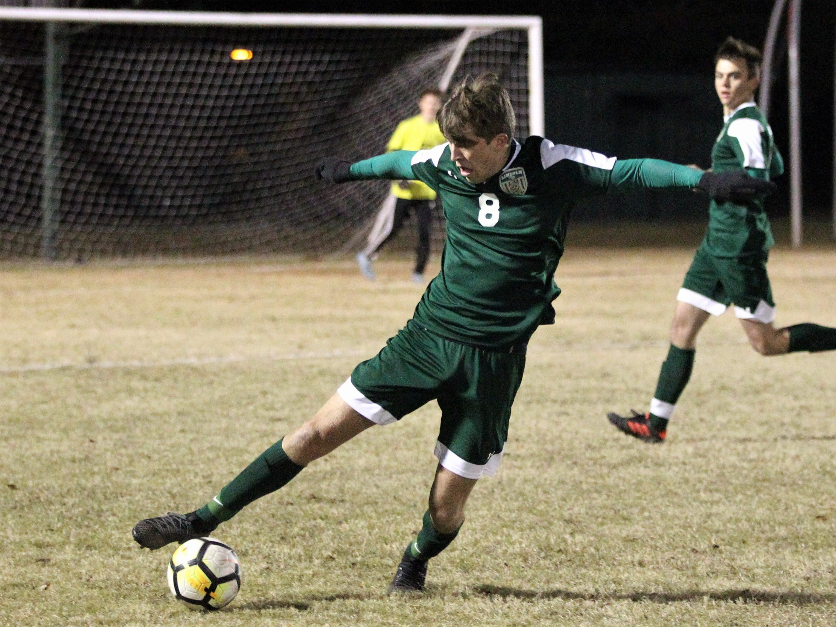 Lincoln defender Nick Molinaro stops a through ball as Chiles' boys soccer team beat Lincoln 1-0 in a District 2-4A semifinal on Jan. 30, 2019.