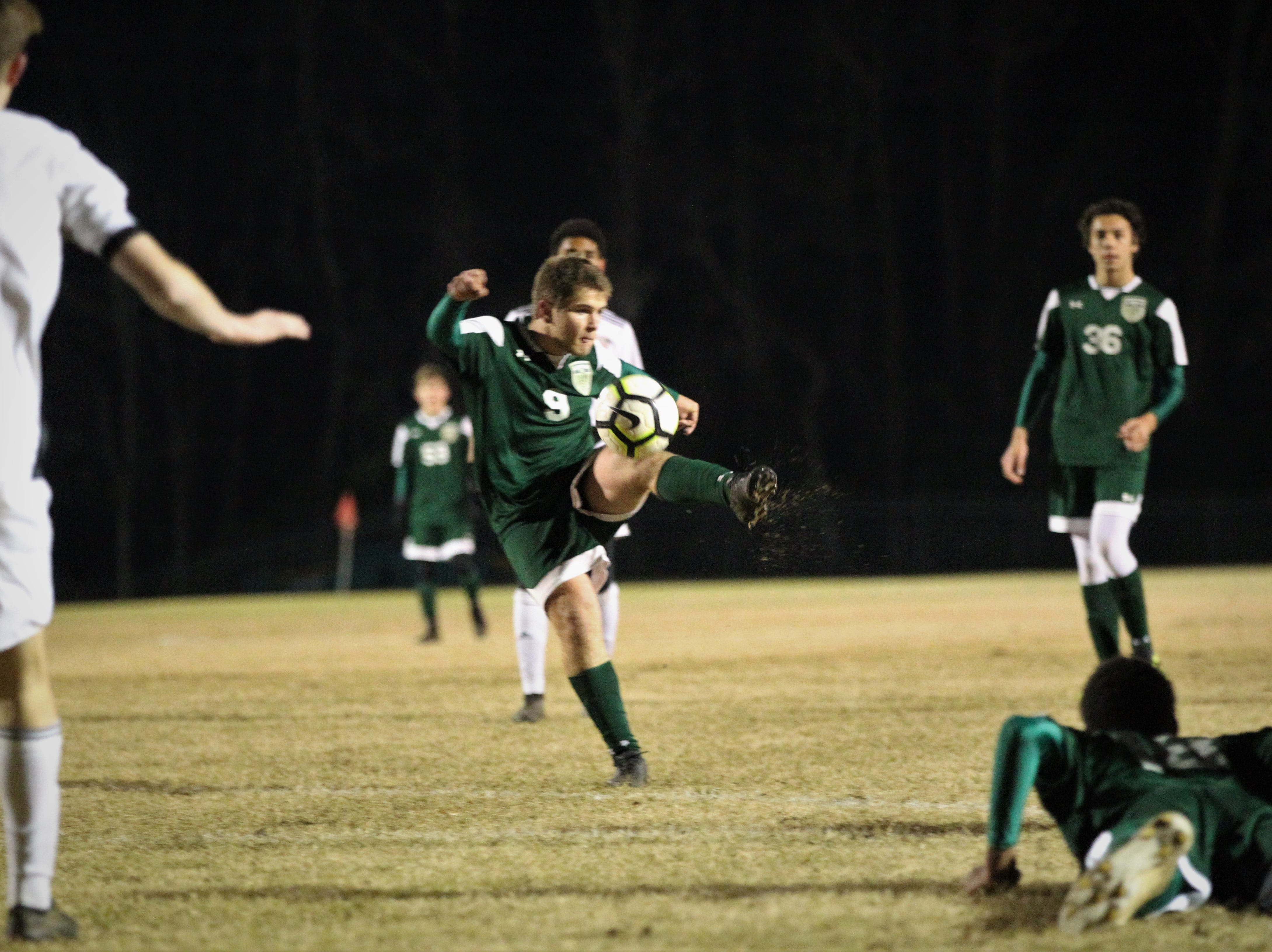 Lincoln's Sean Yearwood rips a shot that gets saved as Chiles' boys soccer team beat Lincoln 1-0 in a District 2-4A semifinal on Jan. 30, 2019.