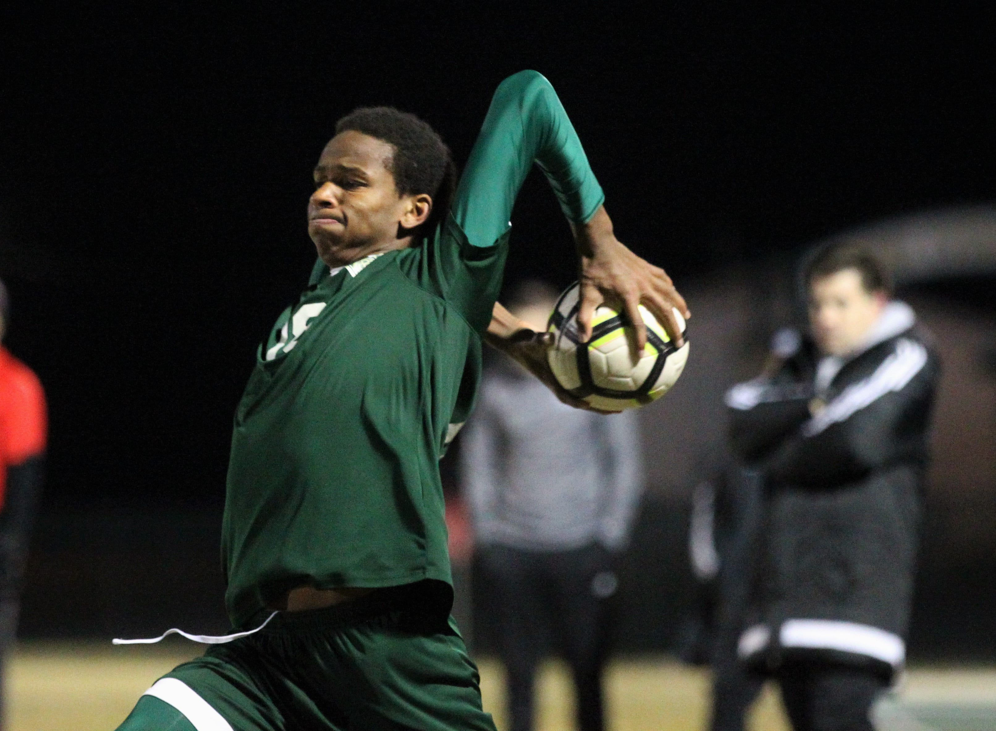 Lincoln's David Monroe makes a throw-in as Chiles' boys soccer team beat Lincoln 1-0 in a District 2-4A semifinal on Jan. 30, 2019.
