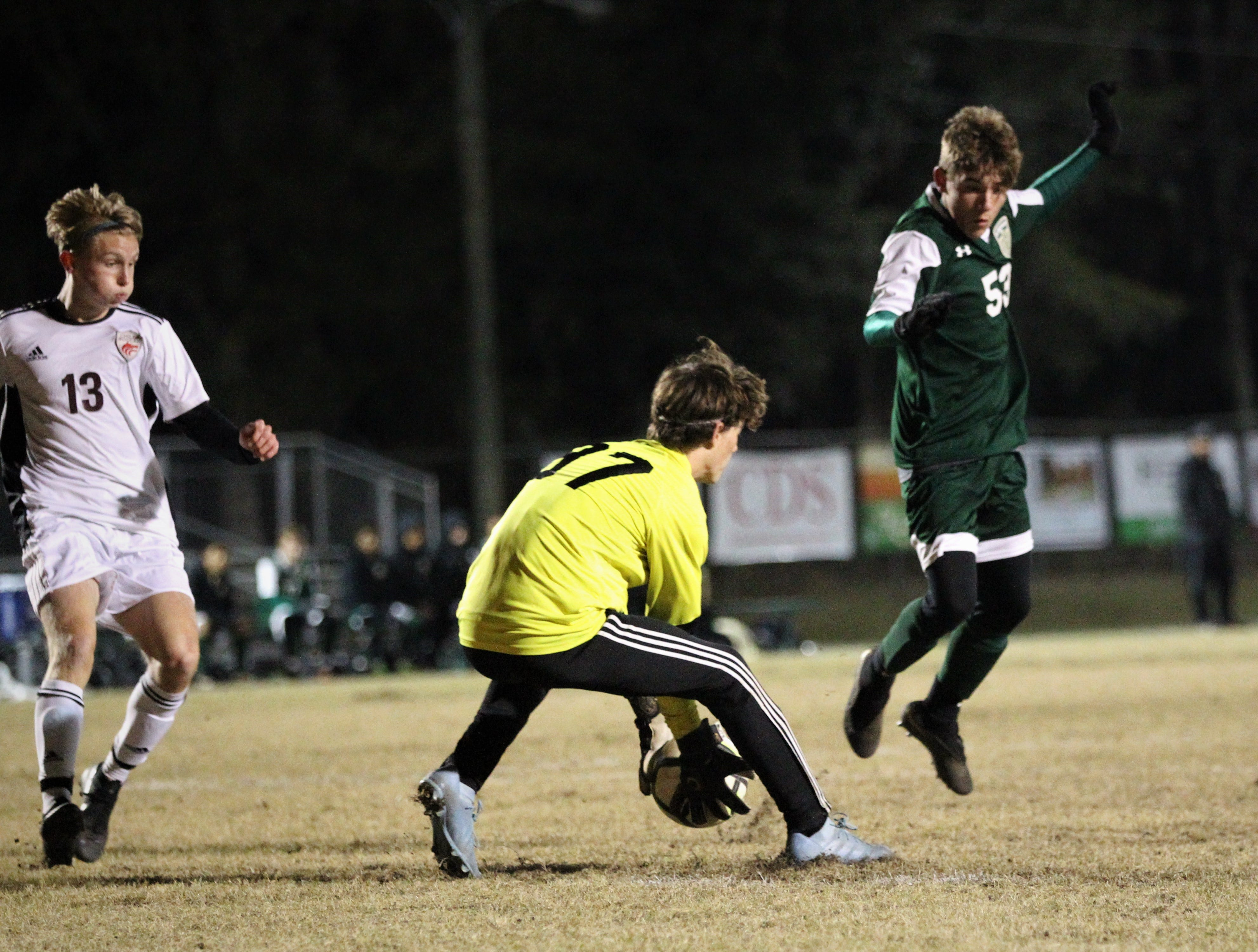 Lincoln keeper Aiden Reiding grabs a through ball as Chiles' boys soccer team beat Lincoln 1-0 in a District 2-4A semifinal on Jan. 30, 2019.