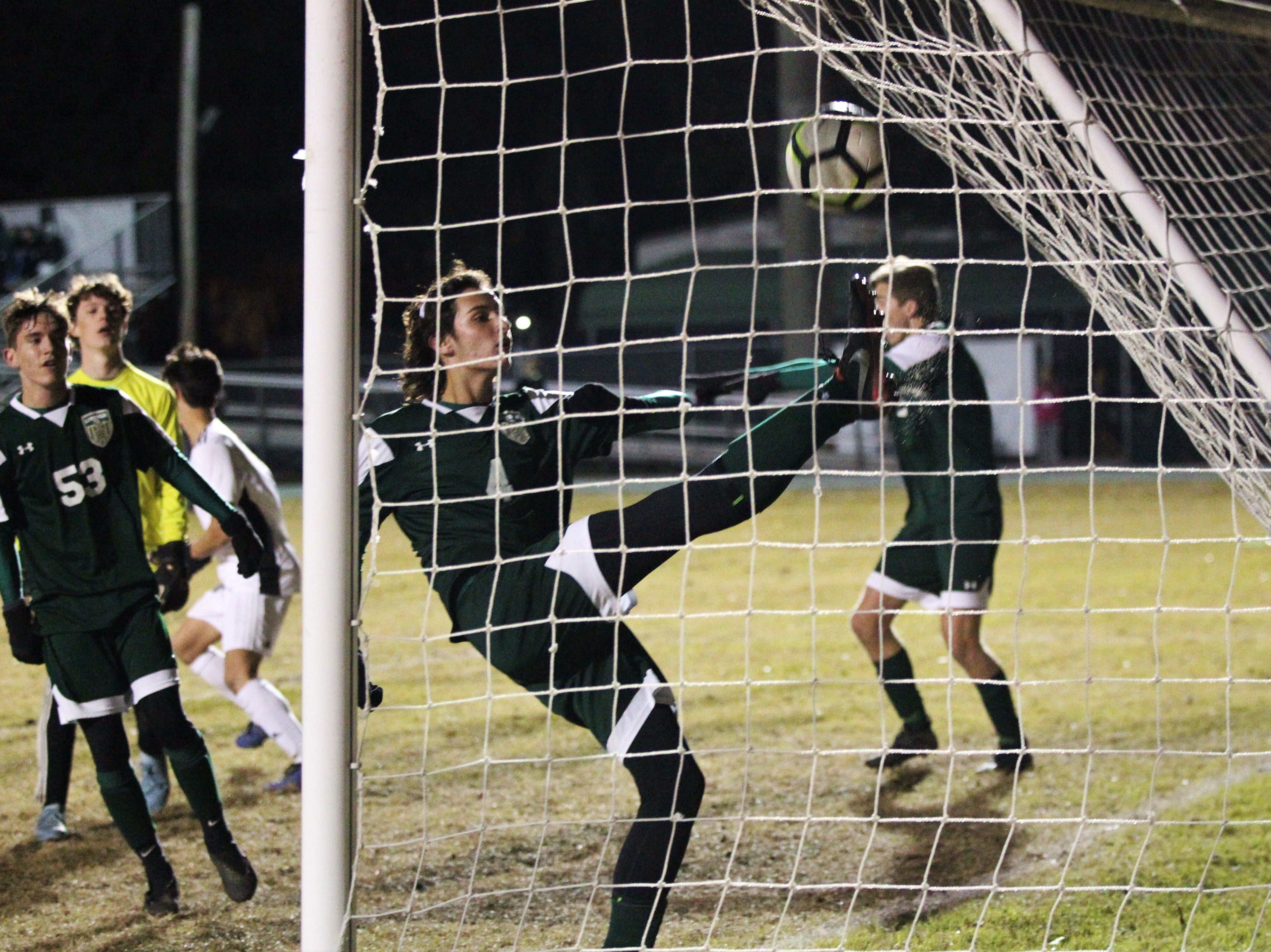 A throw-in from Chiles' Noah Allum turned into a header goal by Will Johnson as Chiles' boys soccer team beat Lincoln 1-0 in a District 2-4A semifinal on Jan. 30, 2019.
