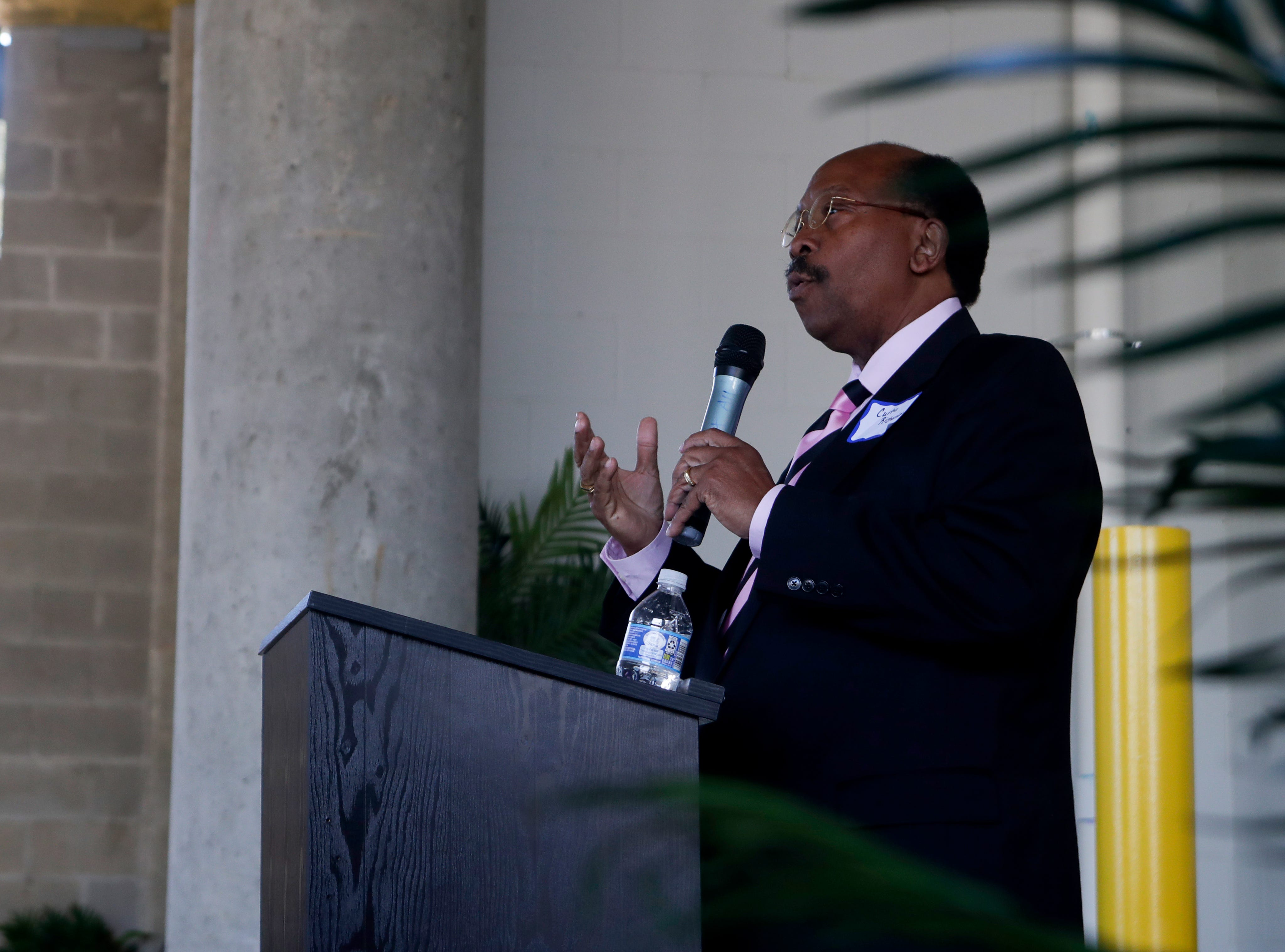 City Commissioner Curtis Richardson speaks during the grand opening celebration for the Casañas Village Apartments at Frenchtown Square Thursday, Jan. 31, 2019.