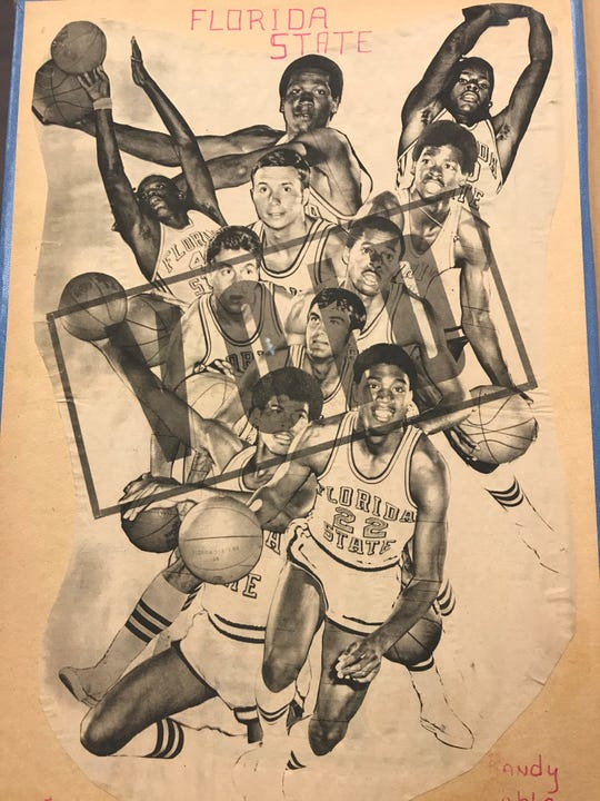 "This illustration of the 1969-1970 FSU basketball team ran in the Florida Flambeau. The team had its post-season voided by the NCAA for earlier recruiting violations leaving the unanswered question: ""Could the Seminoles have won it all?"""