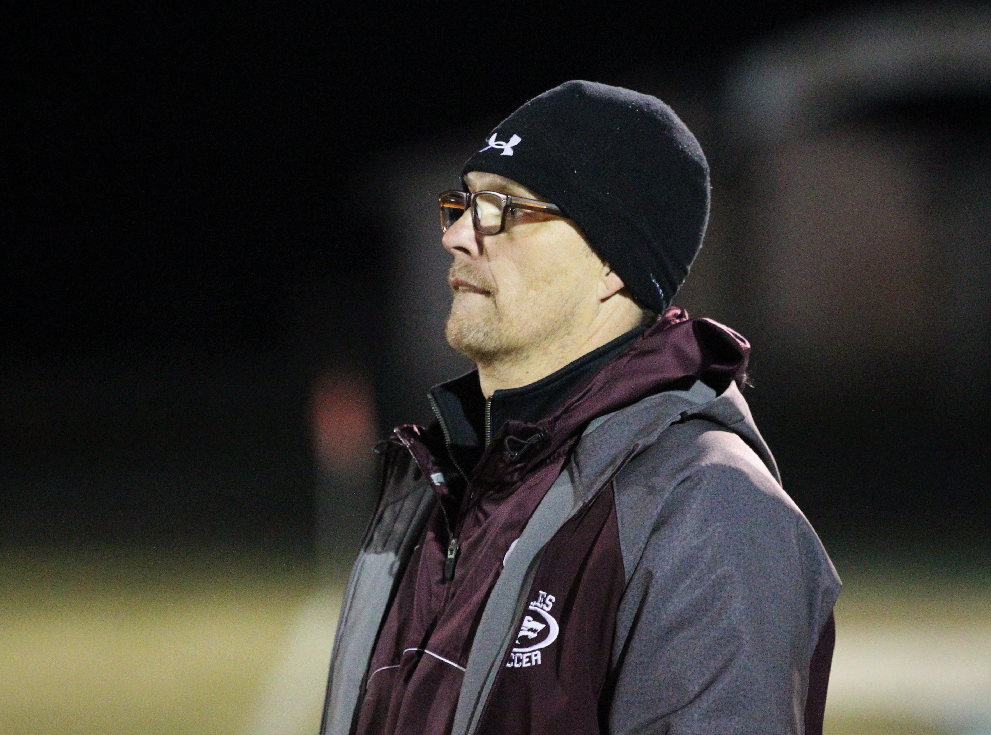Chiles boys soccer coach Bryan Wilkinson watches his team beat Lincoln 1-0 in a District 2-4A semifinal on Jan. 30, 2019.