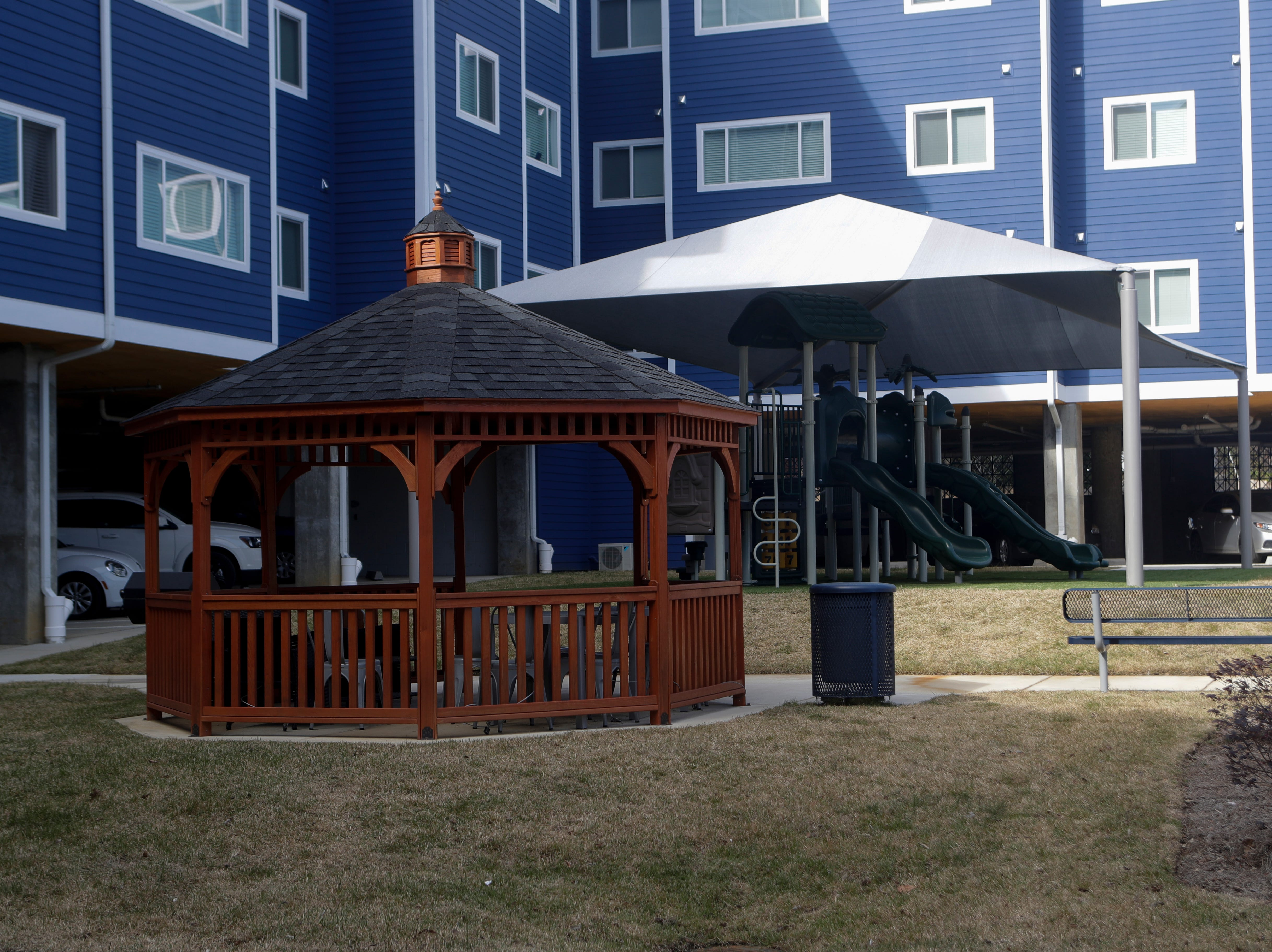 A covered gazebo, playground and bbq picnic area are some of the amenities at Casañas Village Apartments at Frenchtown Square.