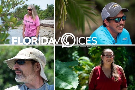 In 2018, 22 Floridians, including Marcia Foosaner (top left), Justin Stuller (top right), Courtney Crowley (bottom right), and Jason Evans (bottom left) were interviewed by TCPalm journalists Eve Samples and Leah Voss for the USA Today Network-Florida project, Florida Voices.