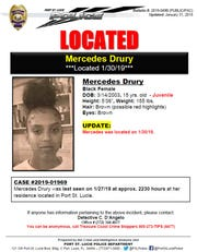 Mercedes Drury, 15, was found safely after being reported missing Sunday from her Port St. Lucie home.