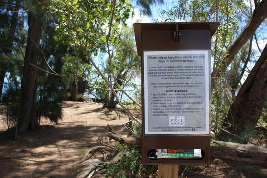Some of the spoil islands in the Indian River Lagoon have dispensers of bags for the disposal of human waste.  The Florida Department of Environmental Protection wants people to stop relieving themselves on the islands, which don't have restrooms or trash cans.