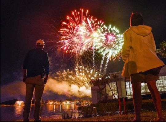 After a day of golf sights and sounds, relax and catch the fireworks.