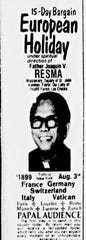 An ad for a European trip with the Rev. Joaquin Resma, 1981.