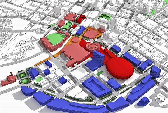 This HKS architectural model shows the the location of a proposed arena (represented by round red building) in the Duranguito neighborhood in Downtown El Paso.