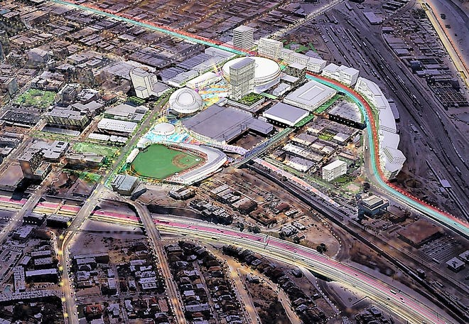 This HKS architectural rendering shows the site for the city's proposed multipurpose arena (represented by large white round building) in the Duranguito neighborhood in Downtown El Paso.