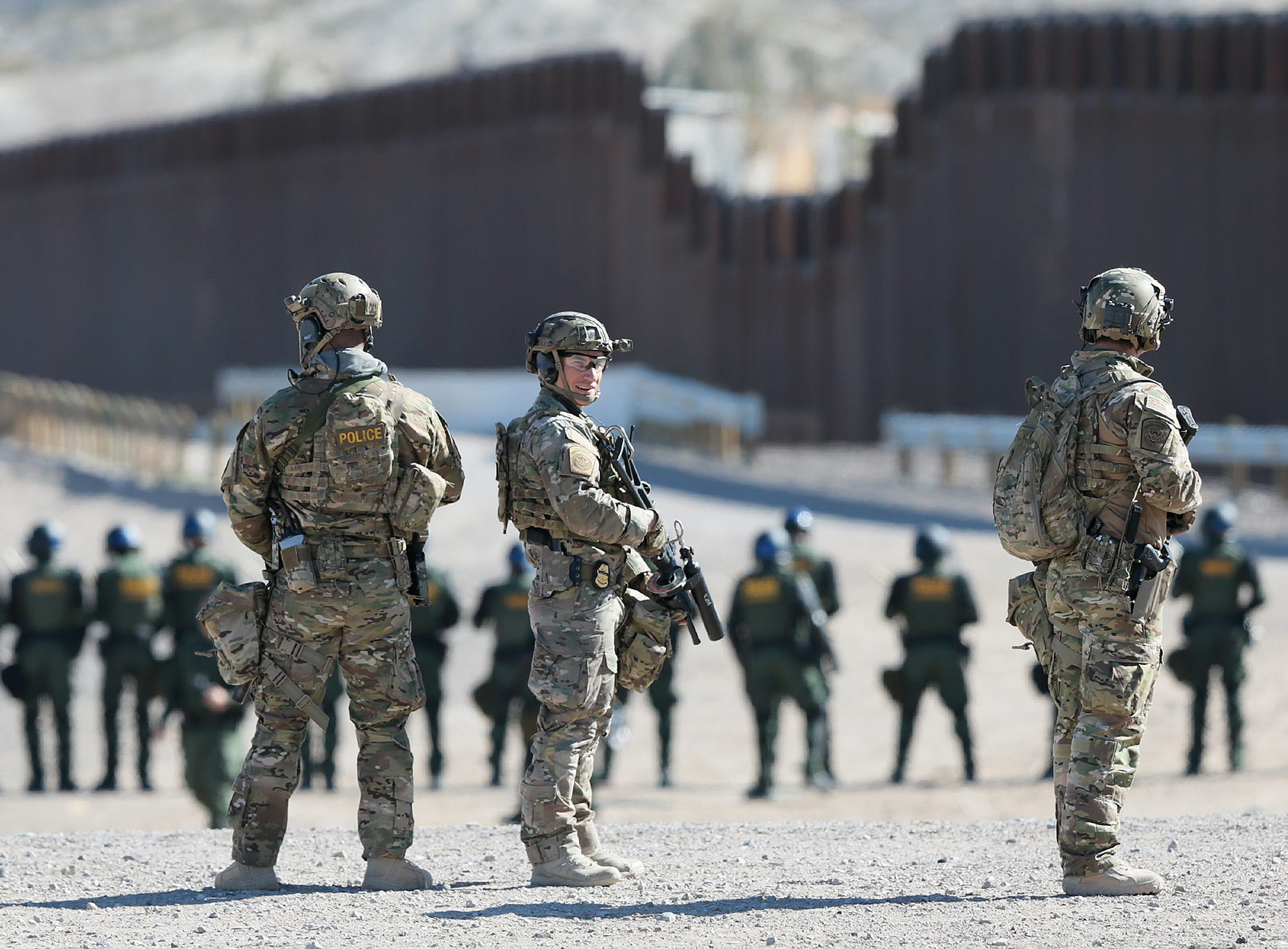 The U.S. Border Patrol along with ICE trained Thursday along the border fence in Anapra. The training is preparation for any border surge that may occur.