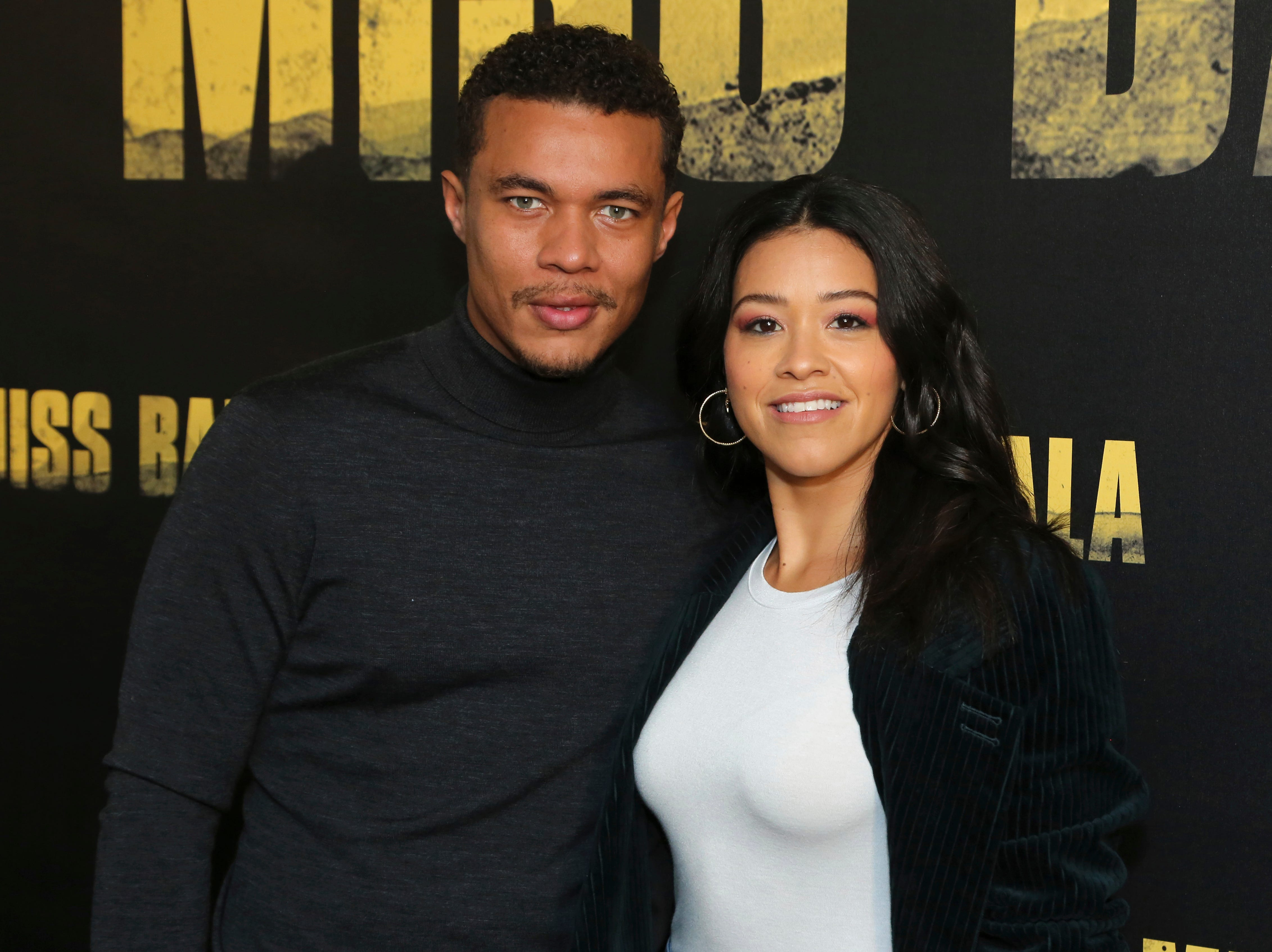 """Ismael Cruz Cordova, left, and Gina Rodriguez pose for a photo at the """"Miss Bala"""" Photo Call at The London West Hollywood on Sunday, Jan. 13, 2019 in West Hollywood, Calif."""