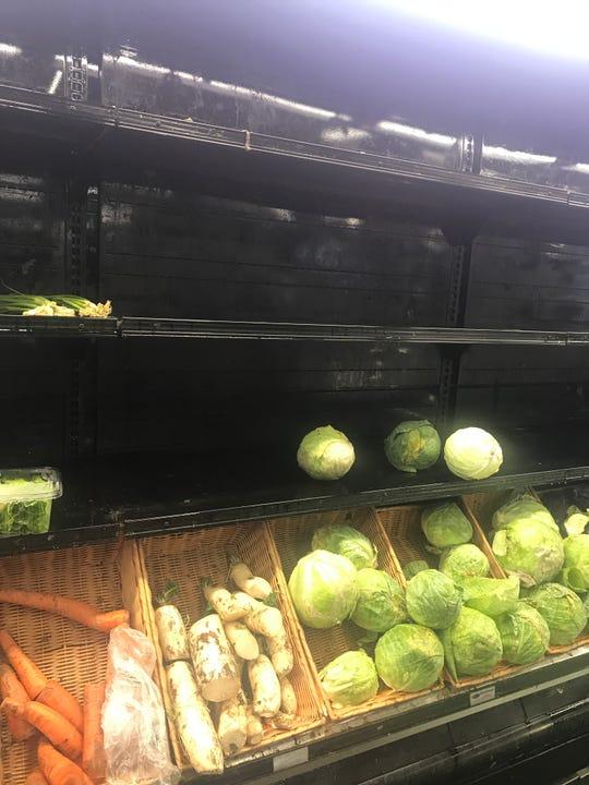 Empty shelves at Brooklyn Market in Dobbs Ferry.