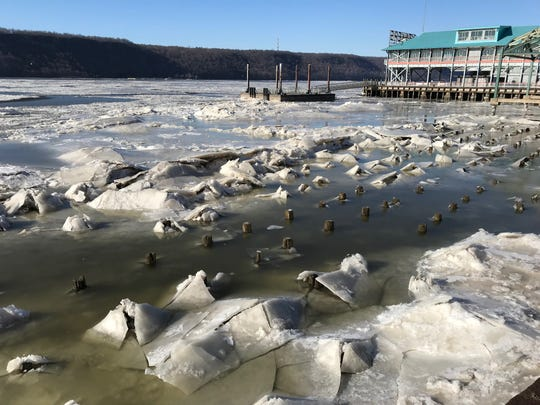 Ice chunks form along the Hudson River in Yonkers, by the Yonkers city pier Jan. 31, 2019