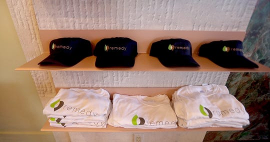 Branded caps and t-shirts for sale at Remedy, a new medical marijuana dispensary in Bardonia Jan. 31, 2019. The dispensary is the first medical marijuana site to open in Rockland County.