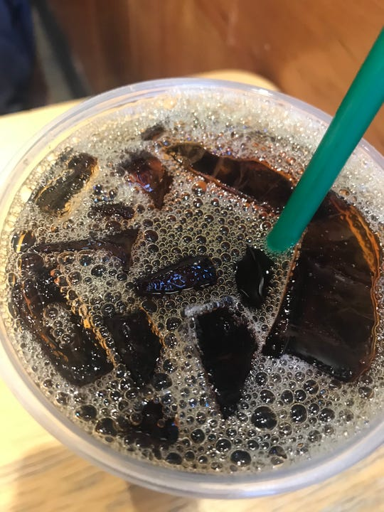 Ice, ice baby. Ice cubes in a Starbucks coffee -- on a frigid February day.