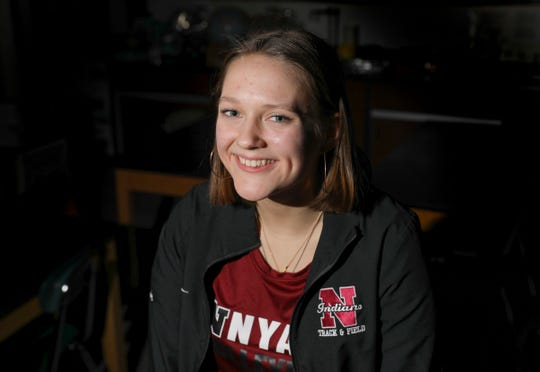 Nyack track athlete Ieva Griffin, photographed at Nyack High School, is selected as the Rockland Scholar/Athtete of the Week. Thursday, January 31, 2019.